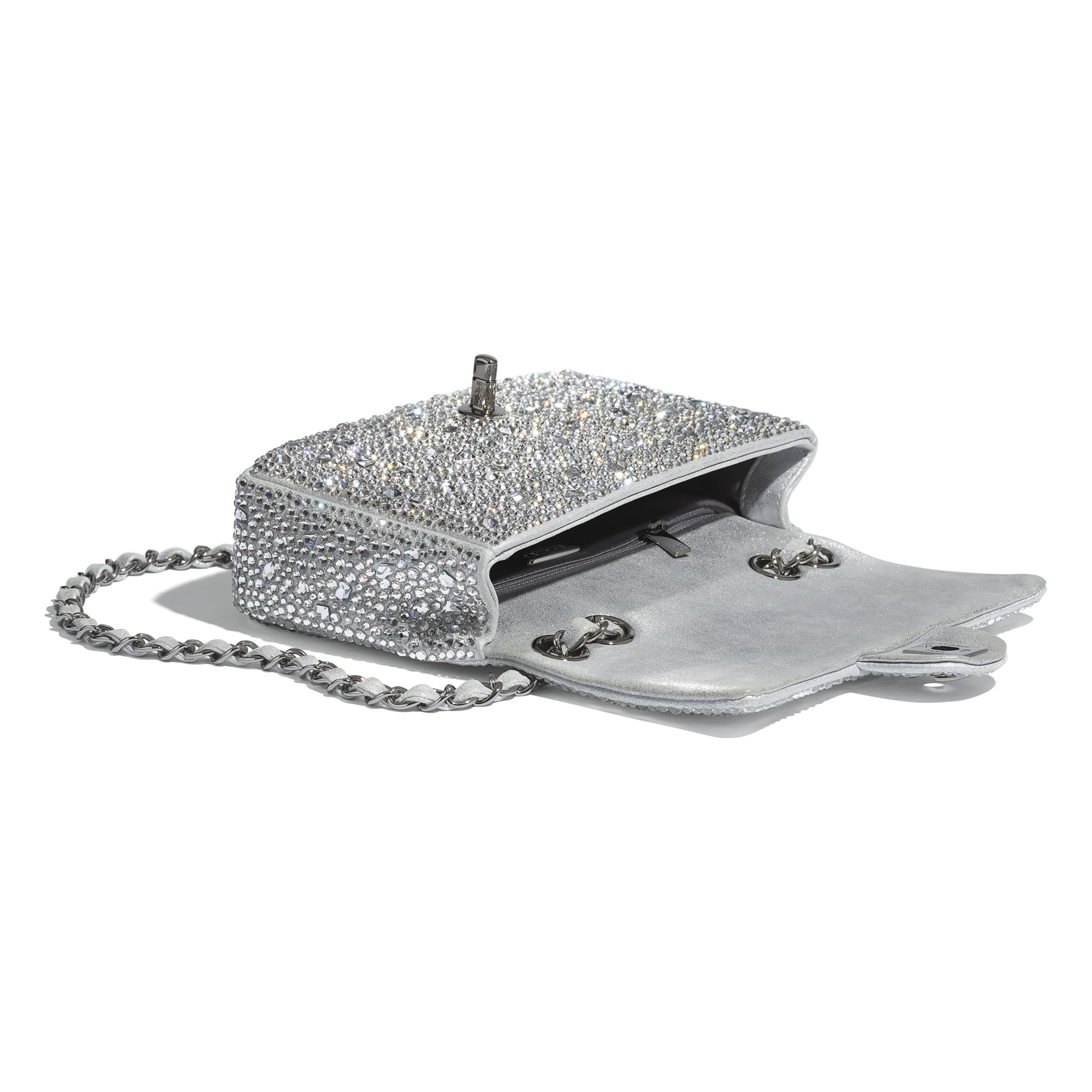 Flap Bag - Silver - Strass, Lambskin & Ruthenium-Finish Metal - CHANEL - Other view - see standard sized version
