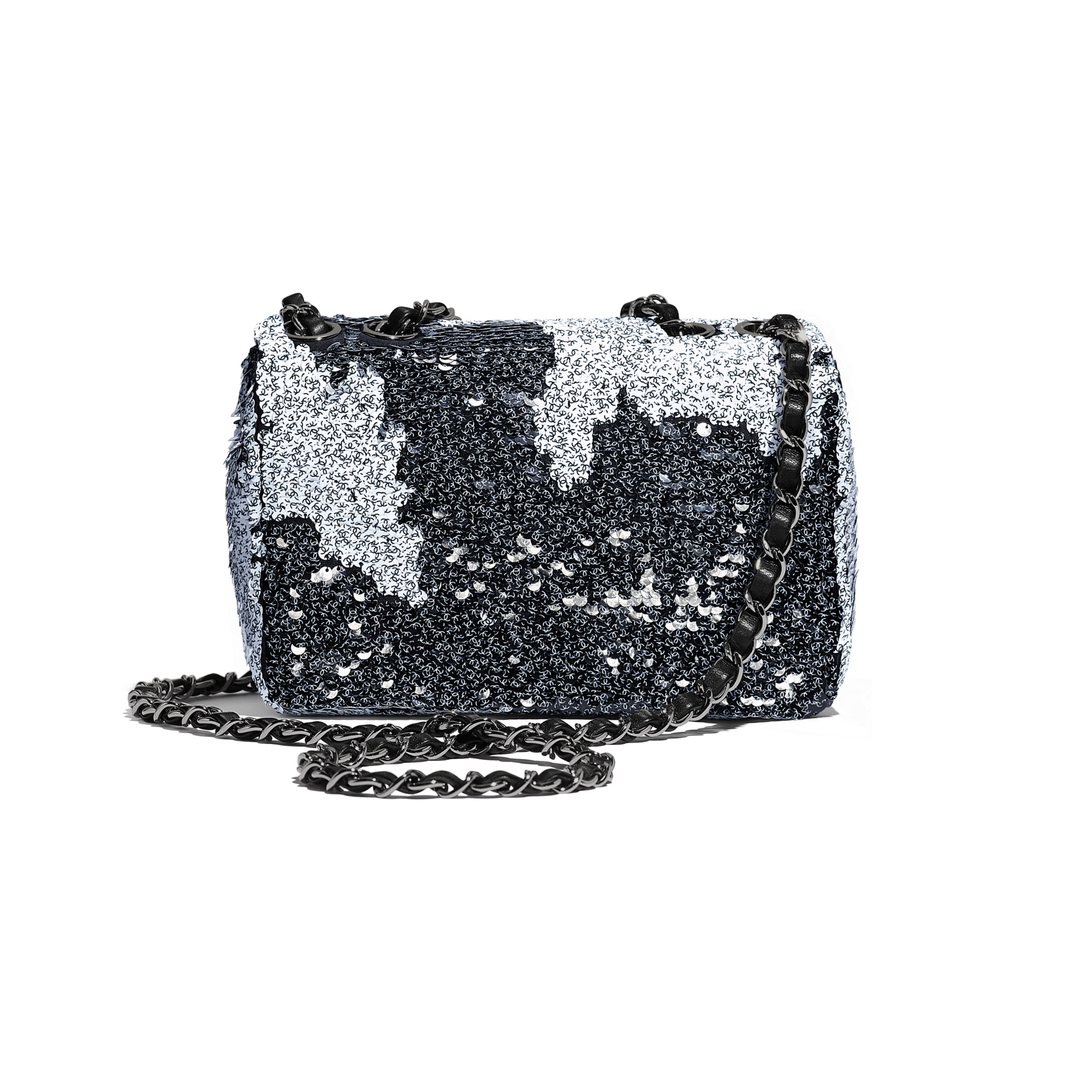 Flap Bag - White & Black - Sequins, Lambskin & Ruthenium-Finish Metal - Alternative view - see standard sized version