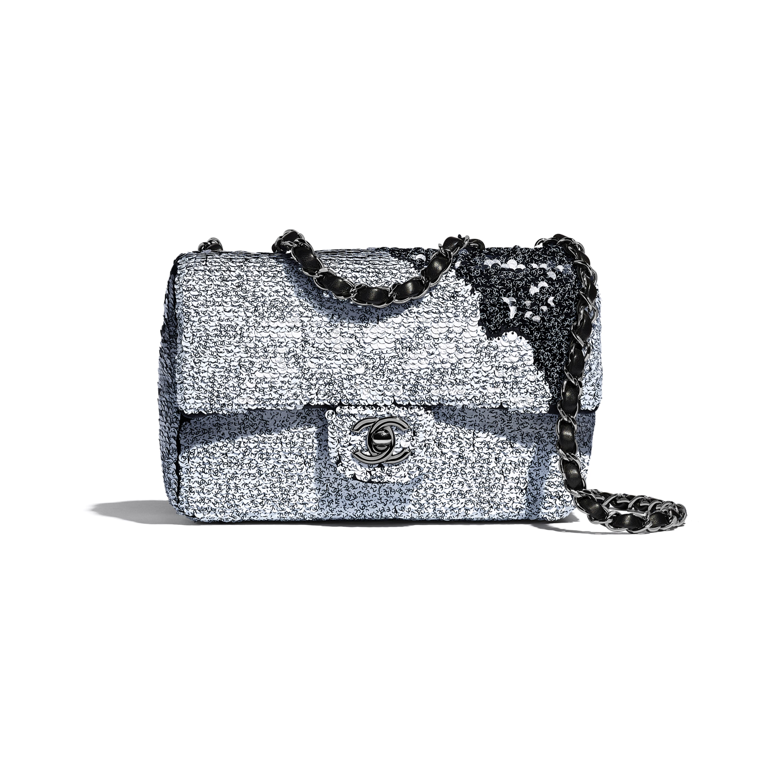 Flap Bag - White & Black - Sequins, Lambskin & Ruthenium-Finish Metal - Default view - see standard sized version