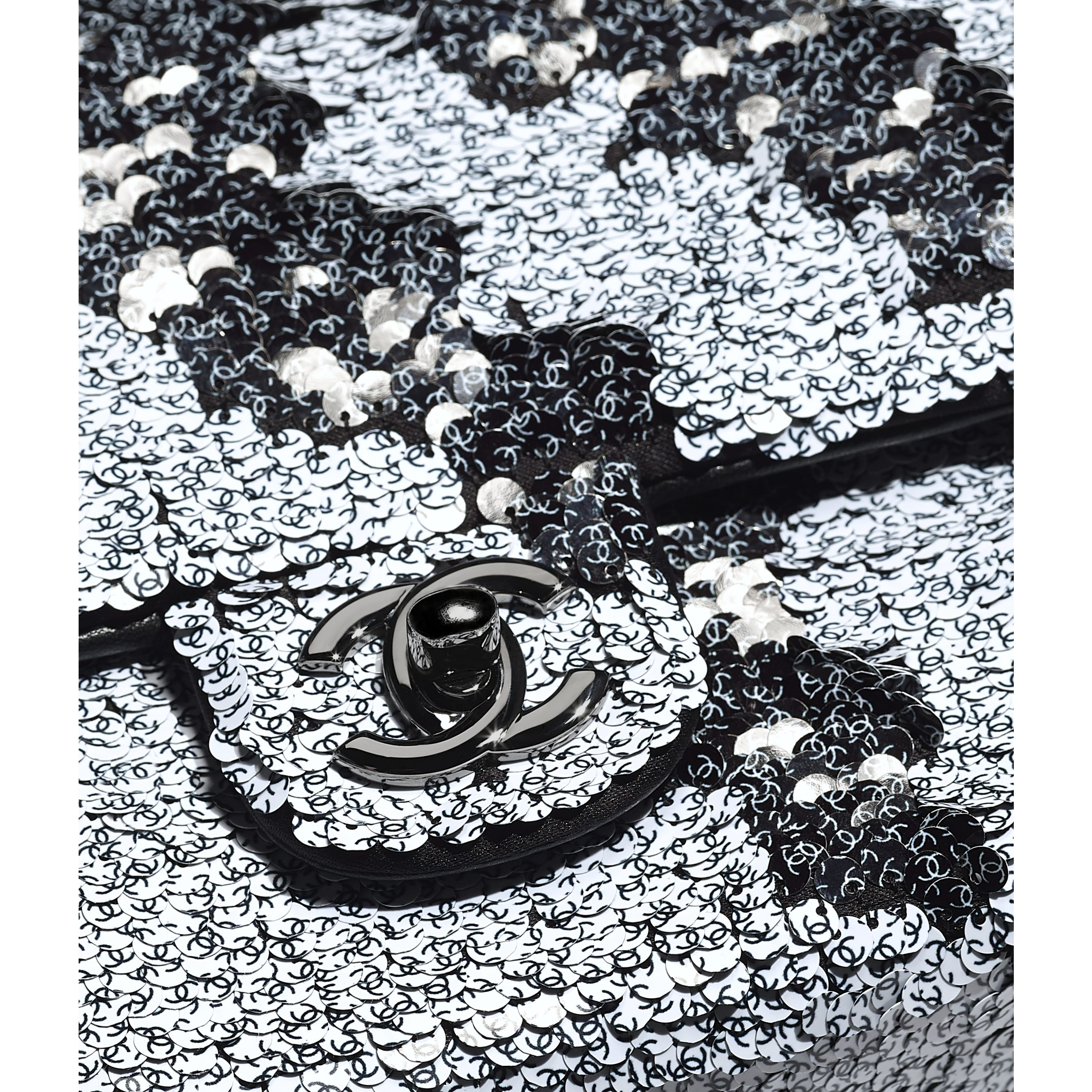 Flap Bag - White & Black - Sequins, Lambskin & Ruthenium-Finish Metal - Extra view - see standard sized version