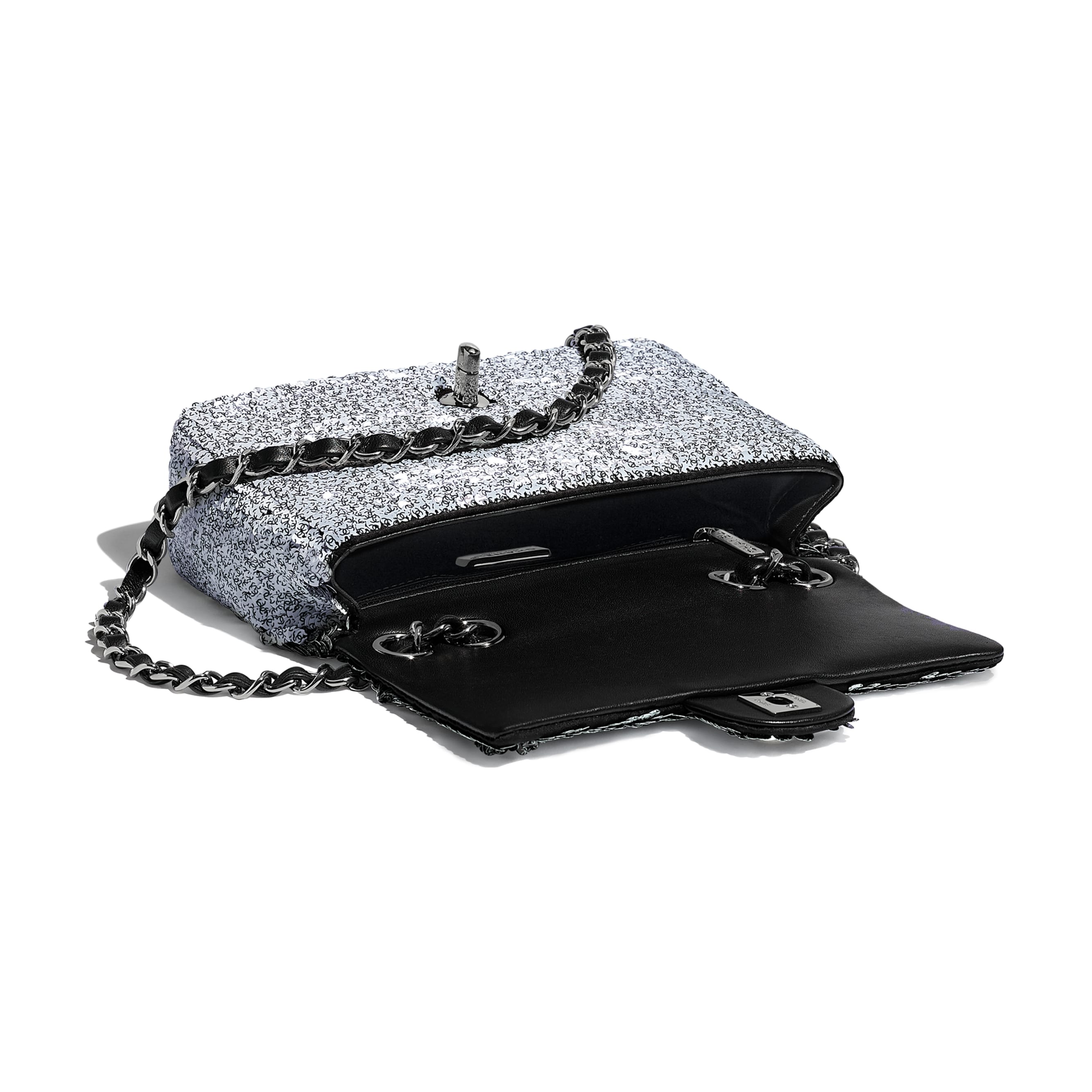 Flap Bag - White & Black - Sequins, Lambskin & Ruthenium-Finish Metal - Other view - see standard sized version