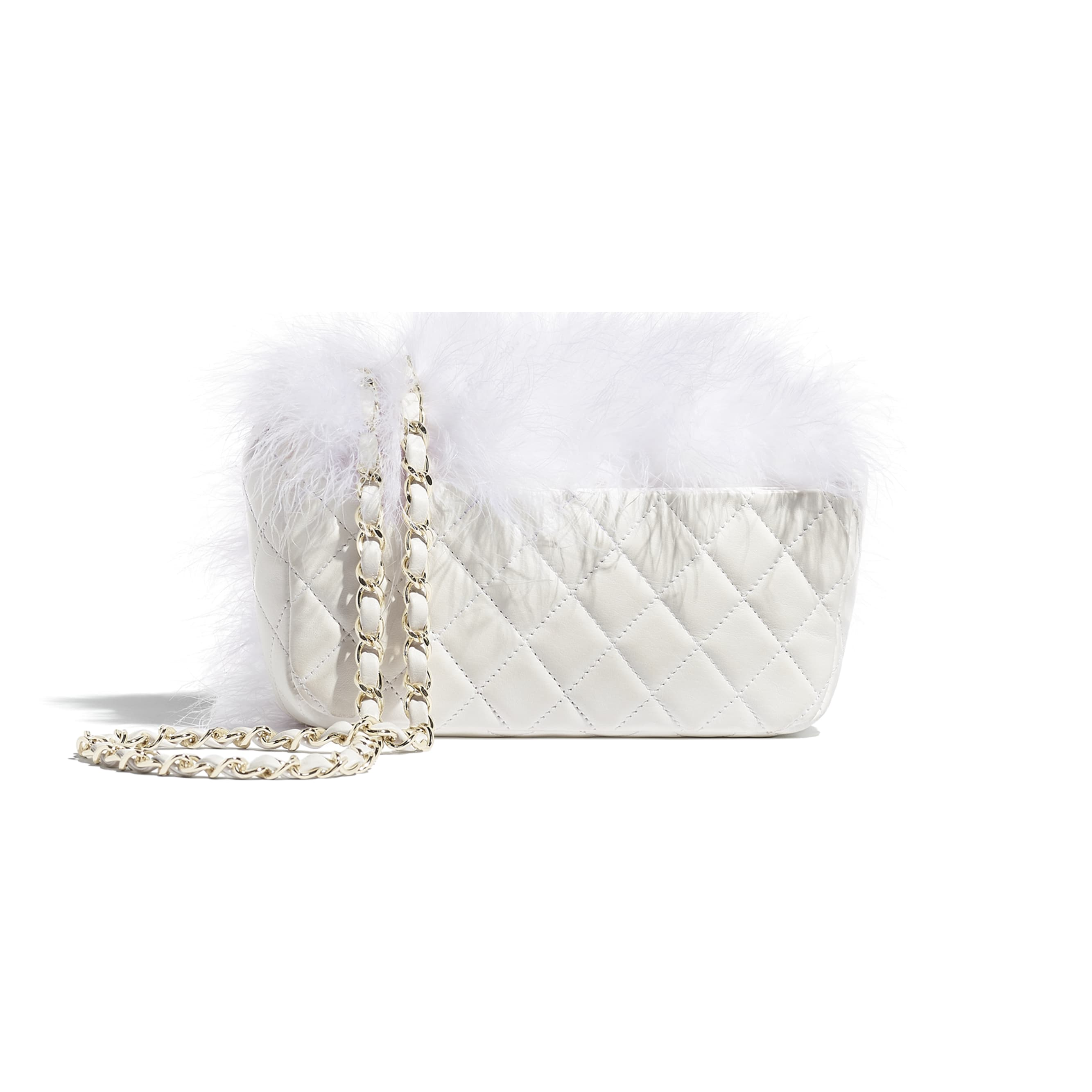 Flap Bag - White - Feathers, Lambskin & Gold-Tone Metal - Alternative view - see standard sized version