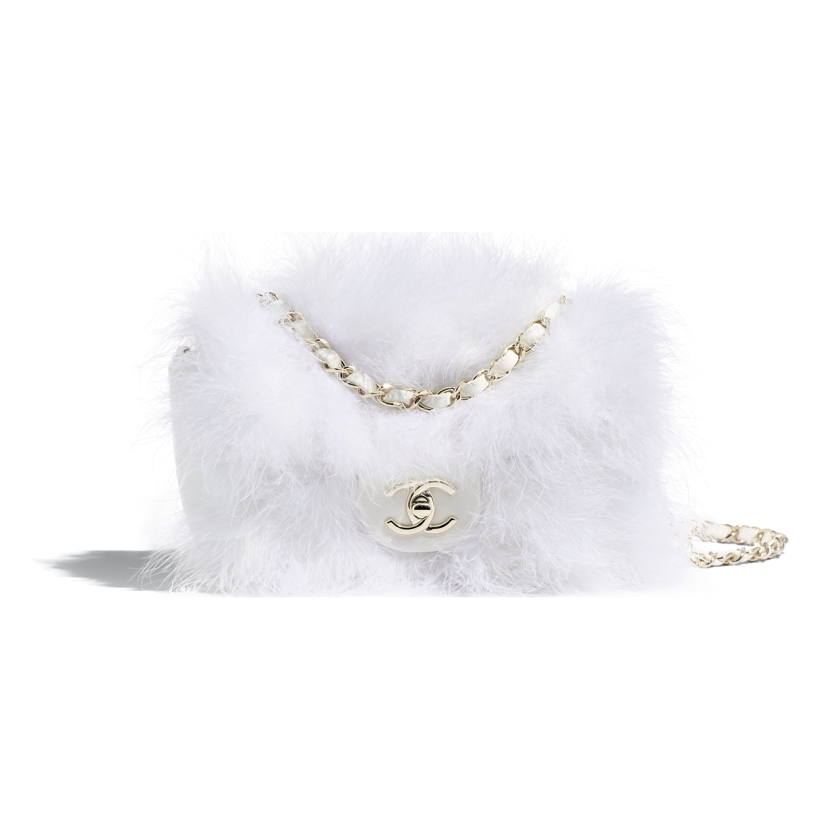 Flap Bag - White - Feathers, Lambskin & Gold-Tone Metal - Default view - see standard sized version