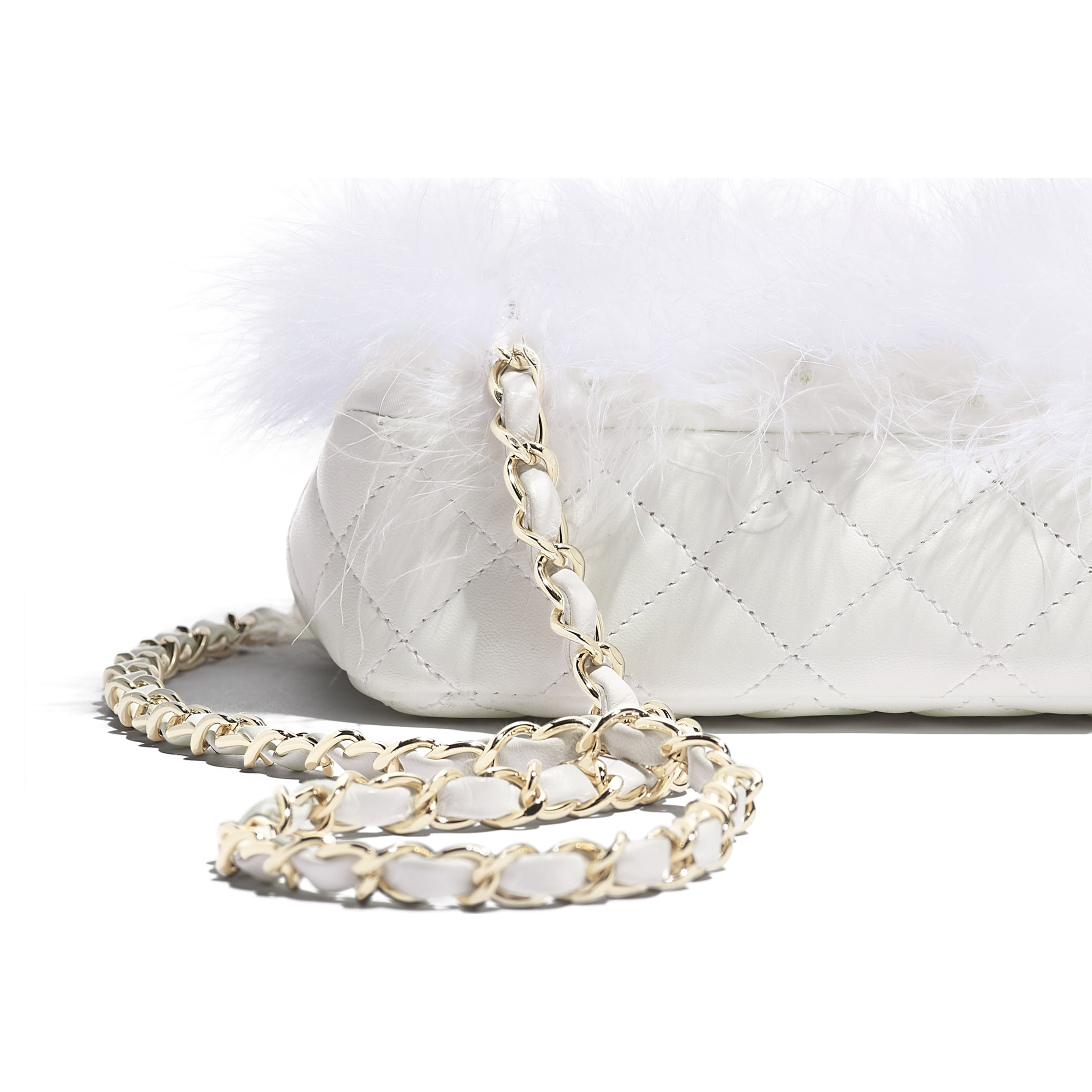 Flap Bag - White - Feathers, Lambskin & Gold-Tone Metal - Extra view - see standard sized version
