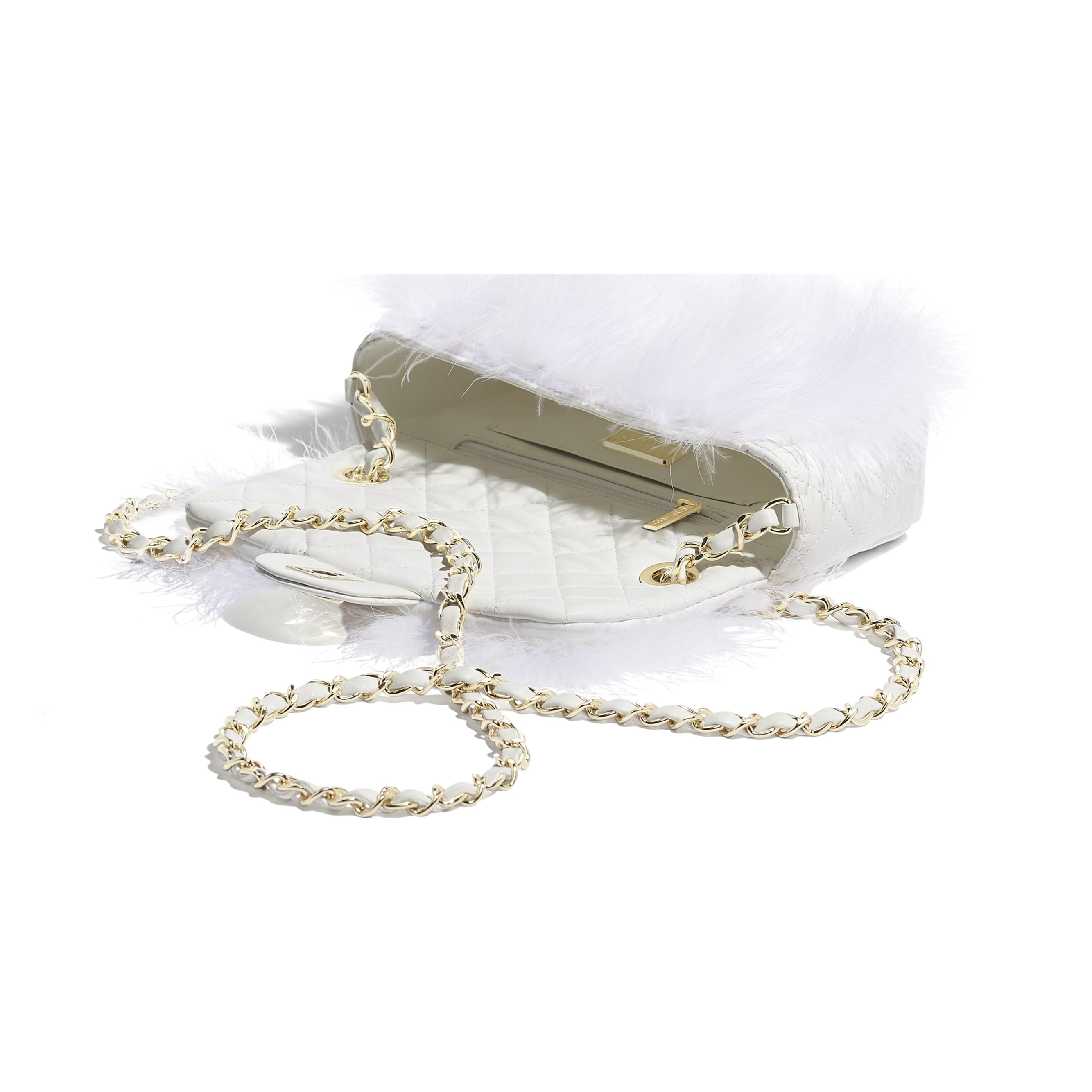 Flap Bag - White - Feathers, Lambskin & Gold-Tone Metal - Other view - see standard sized version