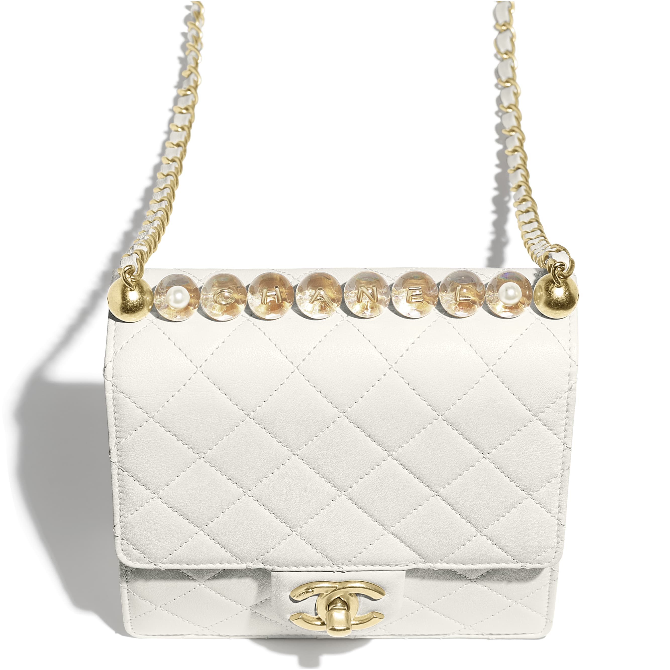 Flap Bag - White - Goatskin, Acrylic Beads & Gold-Tone Metal - Extra view - see standard sized version