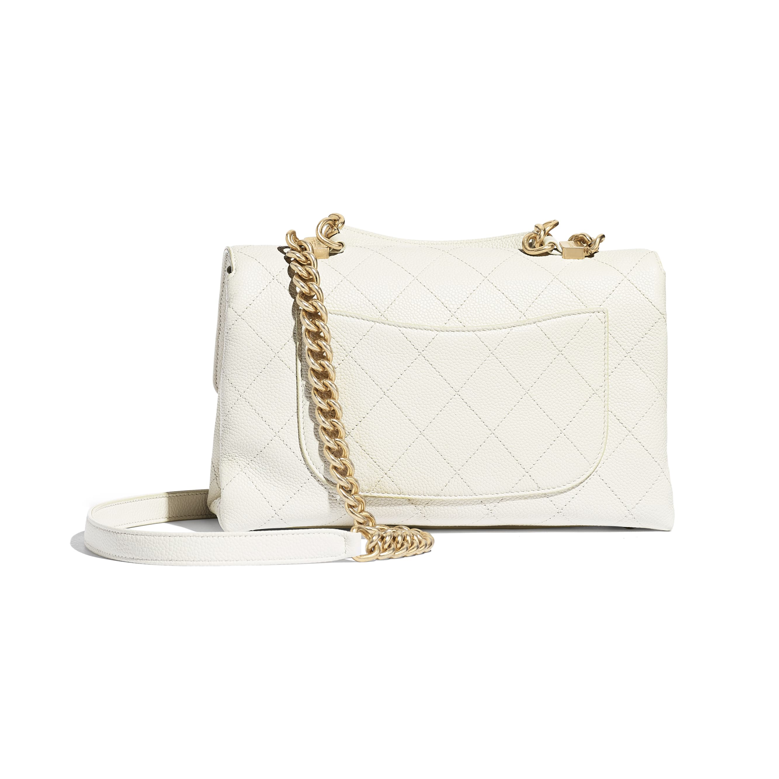 Flap Bag - White - Grained Calfskin & Gold-Tone Metal - Alternative view - see standard sized version