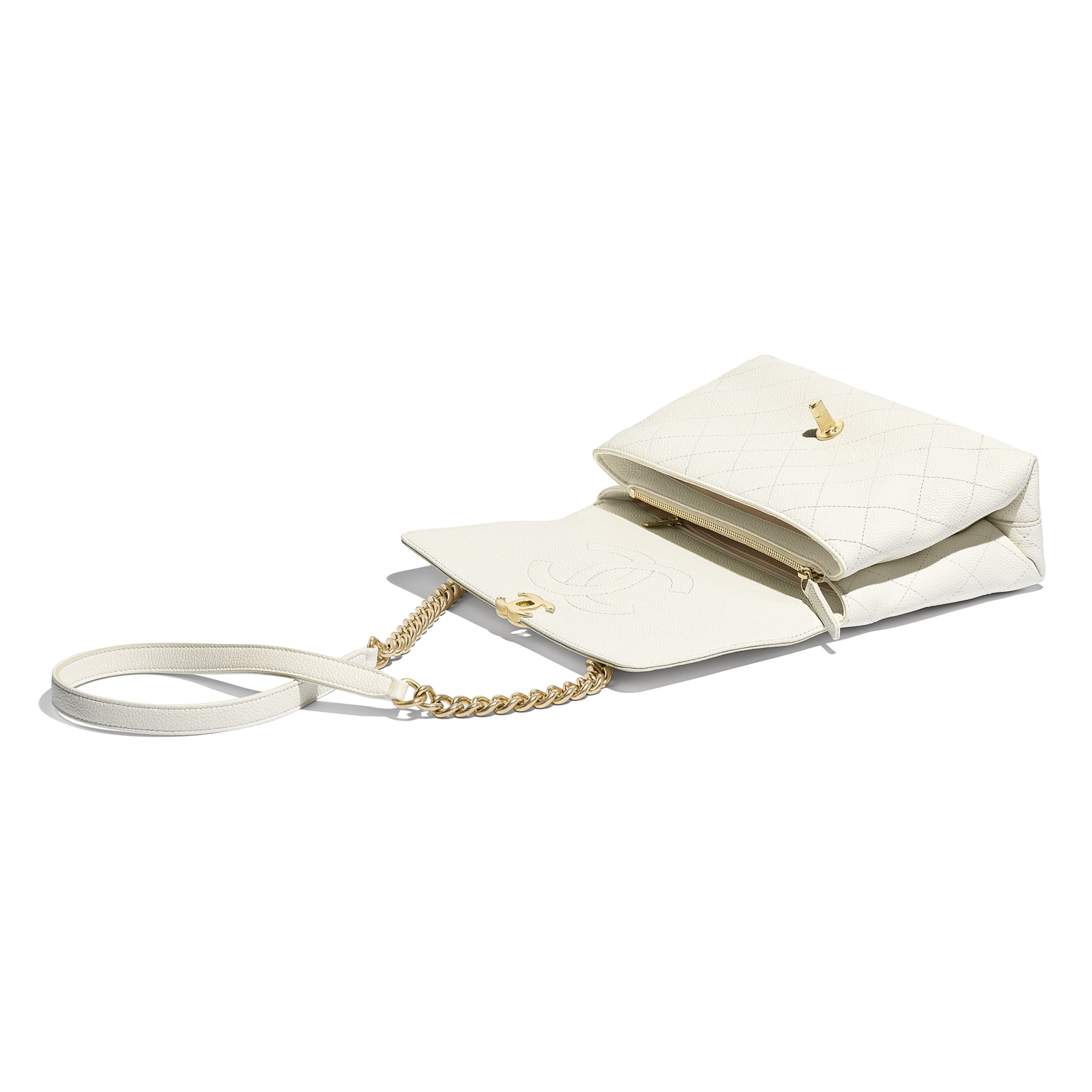 Flap Bag - White - Grained Calfskin & Gold-Tone Metal - Other view - see standard sized version
