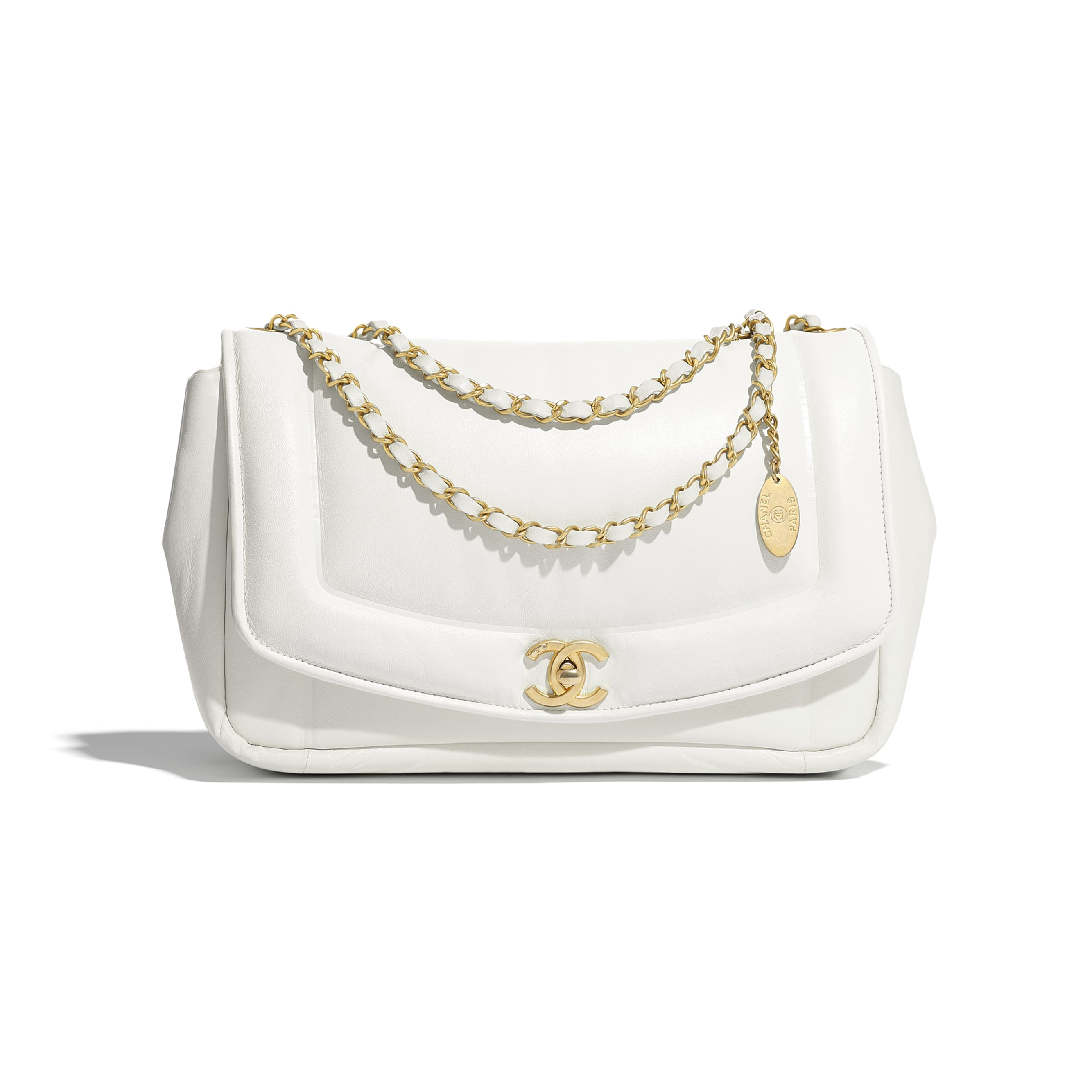 Flap Bag - White - Lambskin & Gold-Tone Metal - Default view - see standard sized version