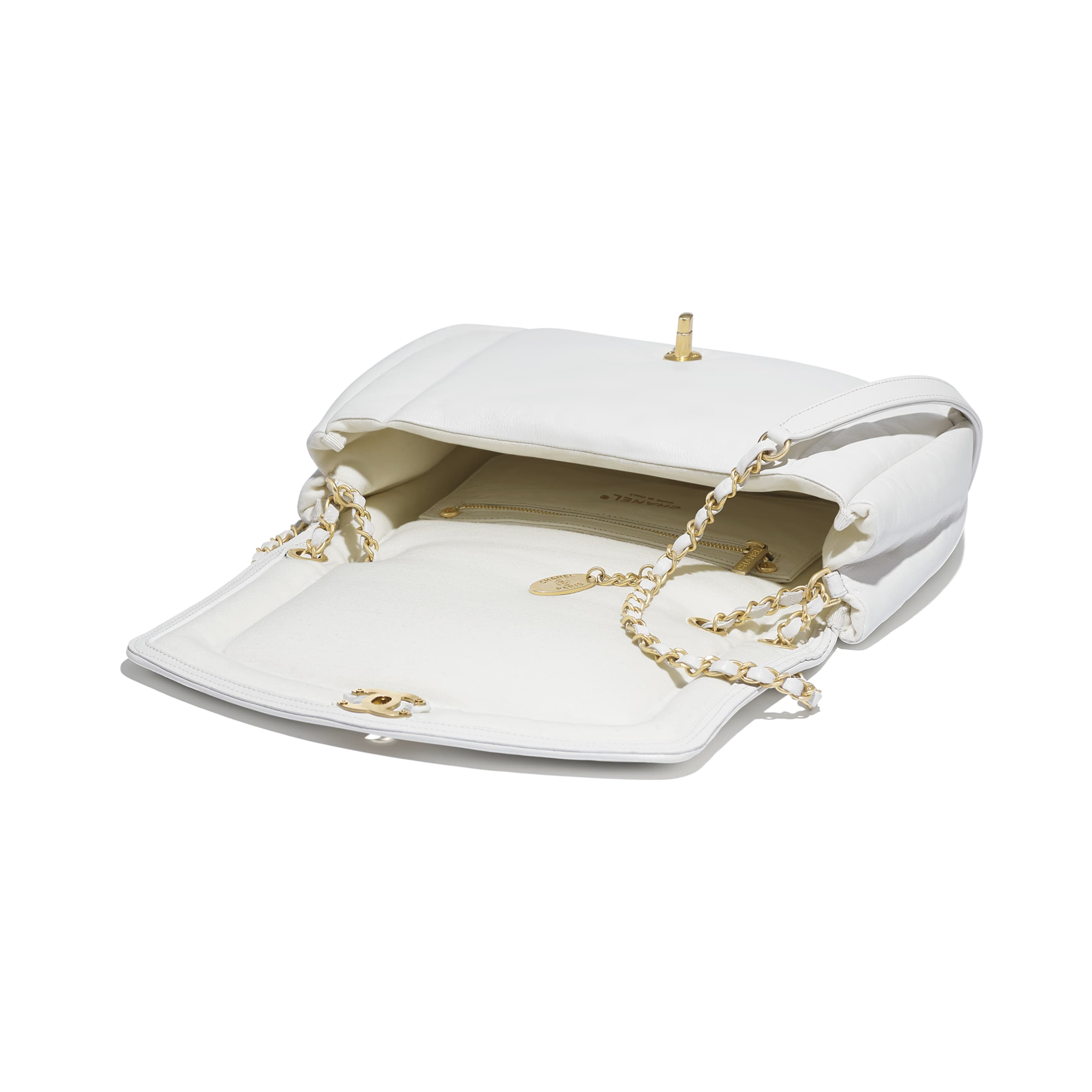 Flap Bag - White - Lambskin & Gold-Tone Metal - Other view - see standard sized version