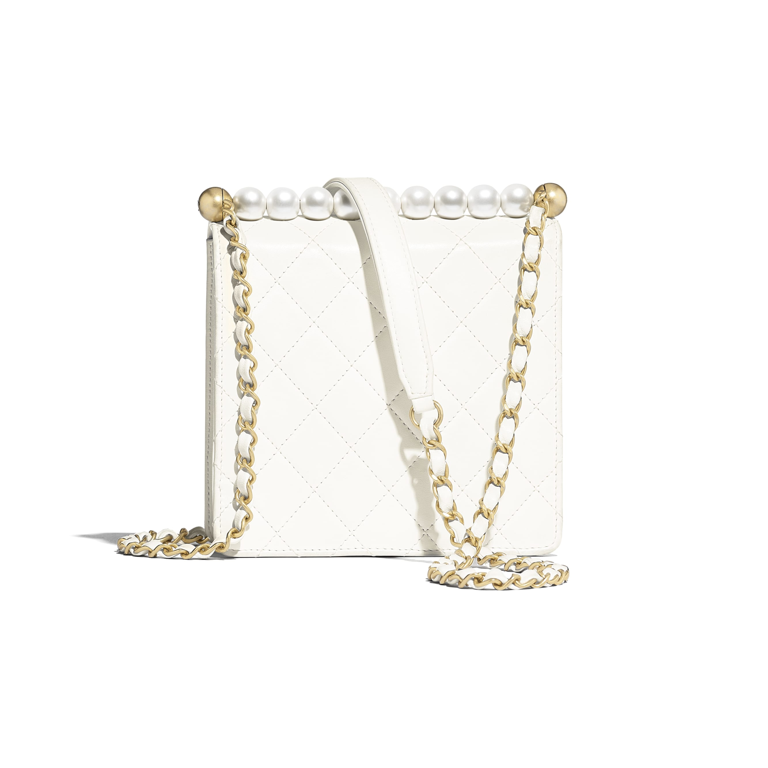 Flap Bag - White - Lambskin, Imitation Pearls & Gold-Tone Metal - Alternative view - see standard sized version