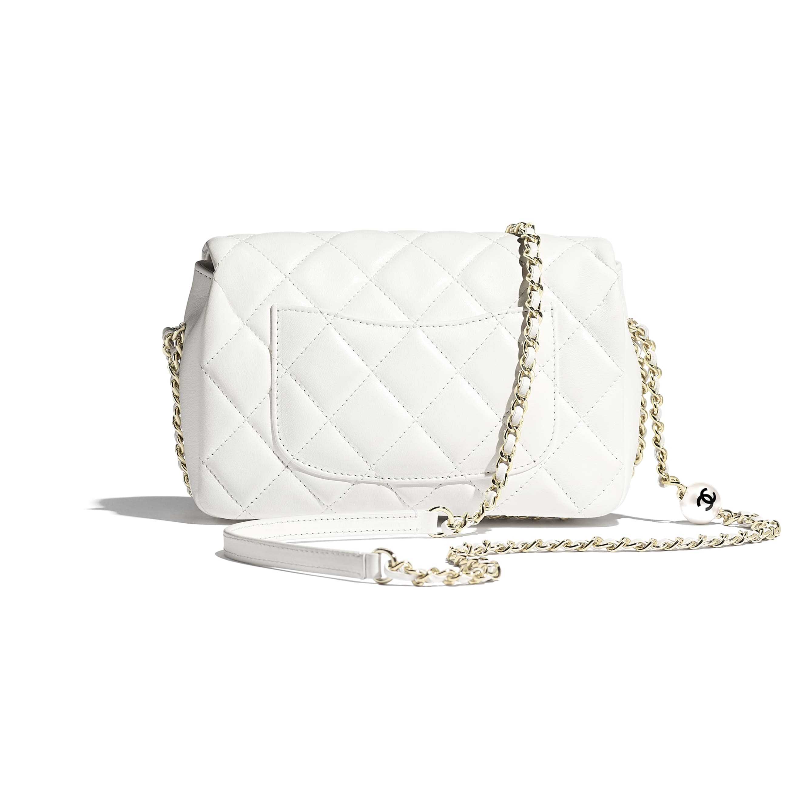 Flap Bag - White - Lambskin, Imitation Pearls & Gold Metal - Alternative view - see standard sized version