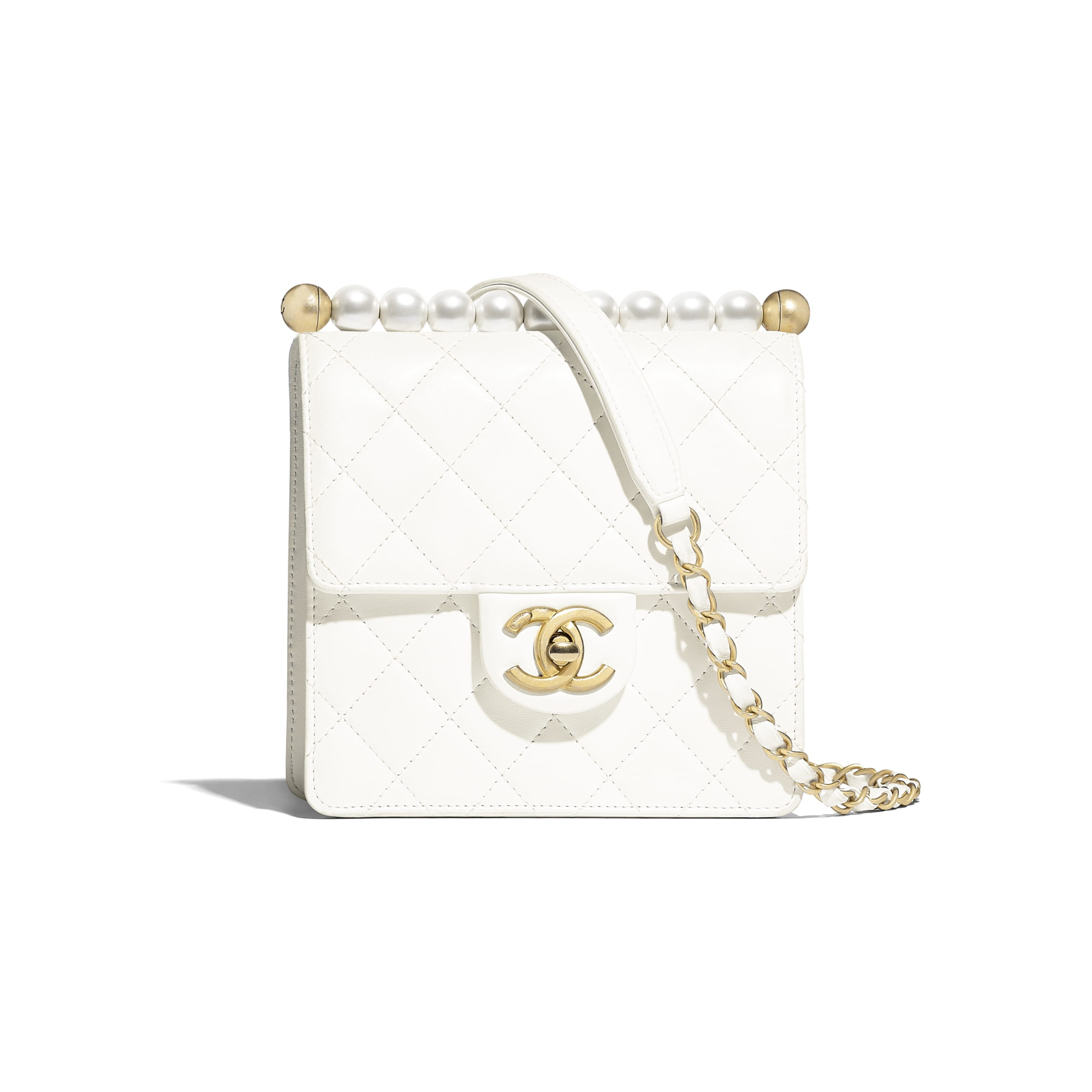 Flap Bag - White - Lambskin, Imitation Pearls & Gold-Tone Metal - Default view - see standard sized version
