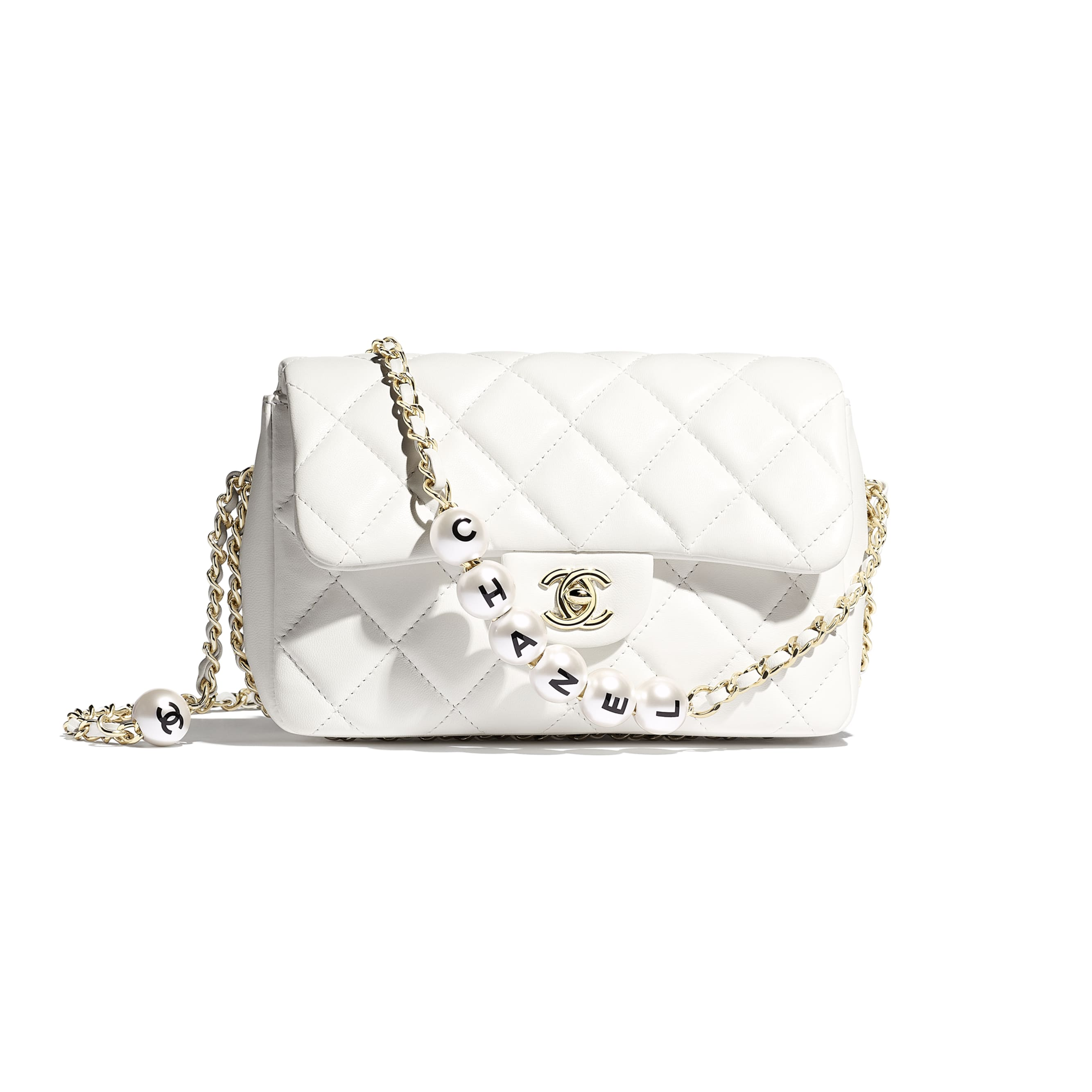Flap Bag - White - Lambskin, Imitation Pearls & Gold Metal - Default view - see standard sized version