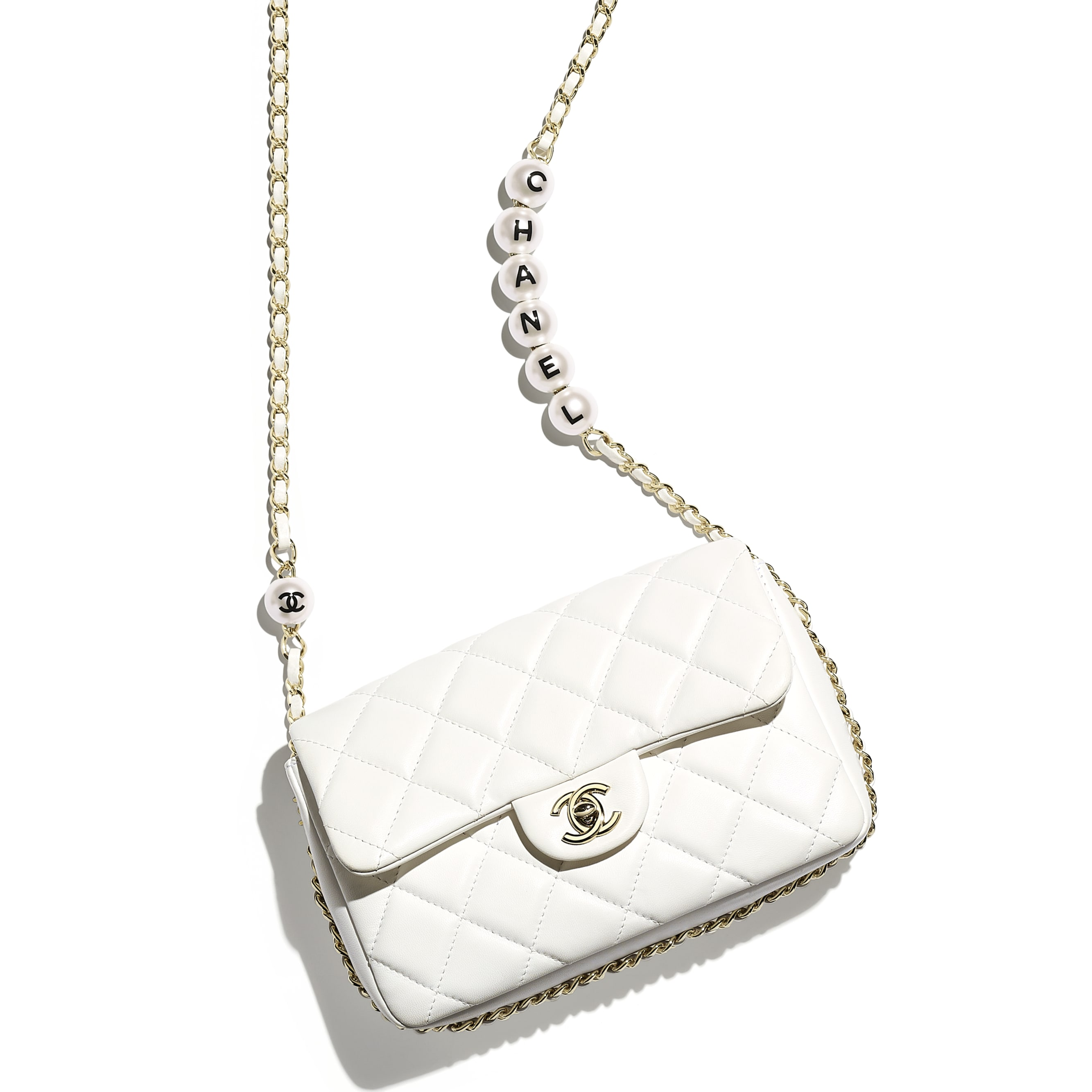 Flap Bag - White - Lambskin, Imitation Pearls & Gold Metal - Extra view - see standard sized version