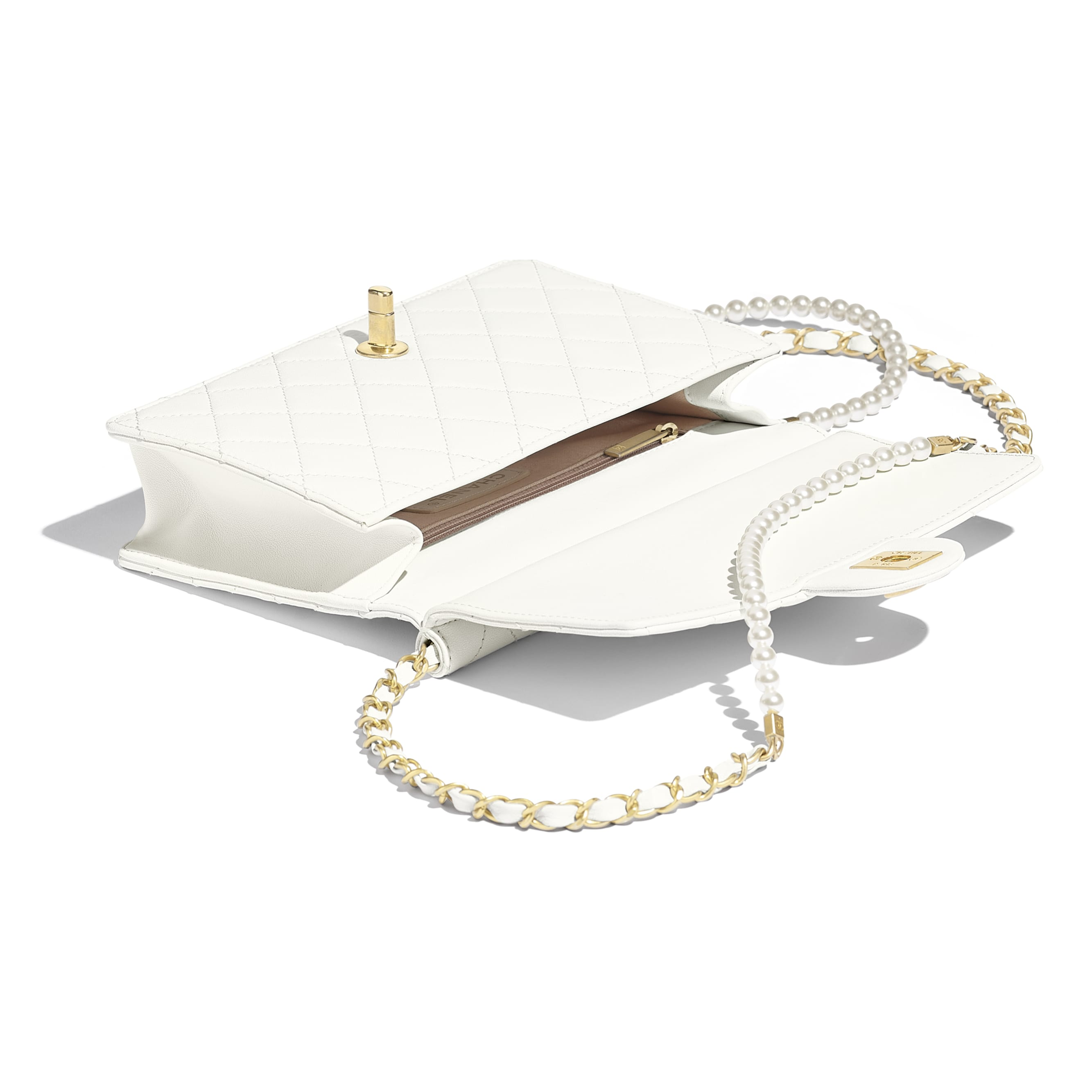 Flap Bag - White - Lambskin, Imitation Pearls & Gold-Tone Metal - Other view - see standard sized version