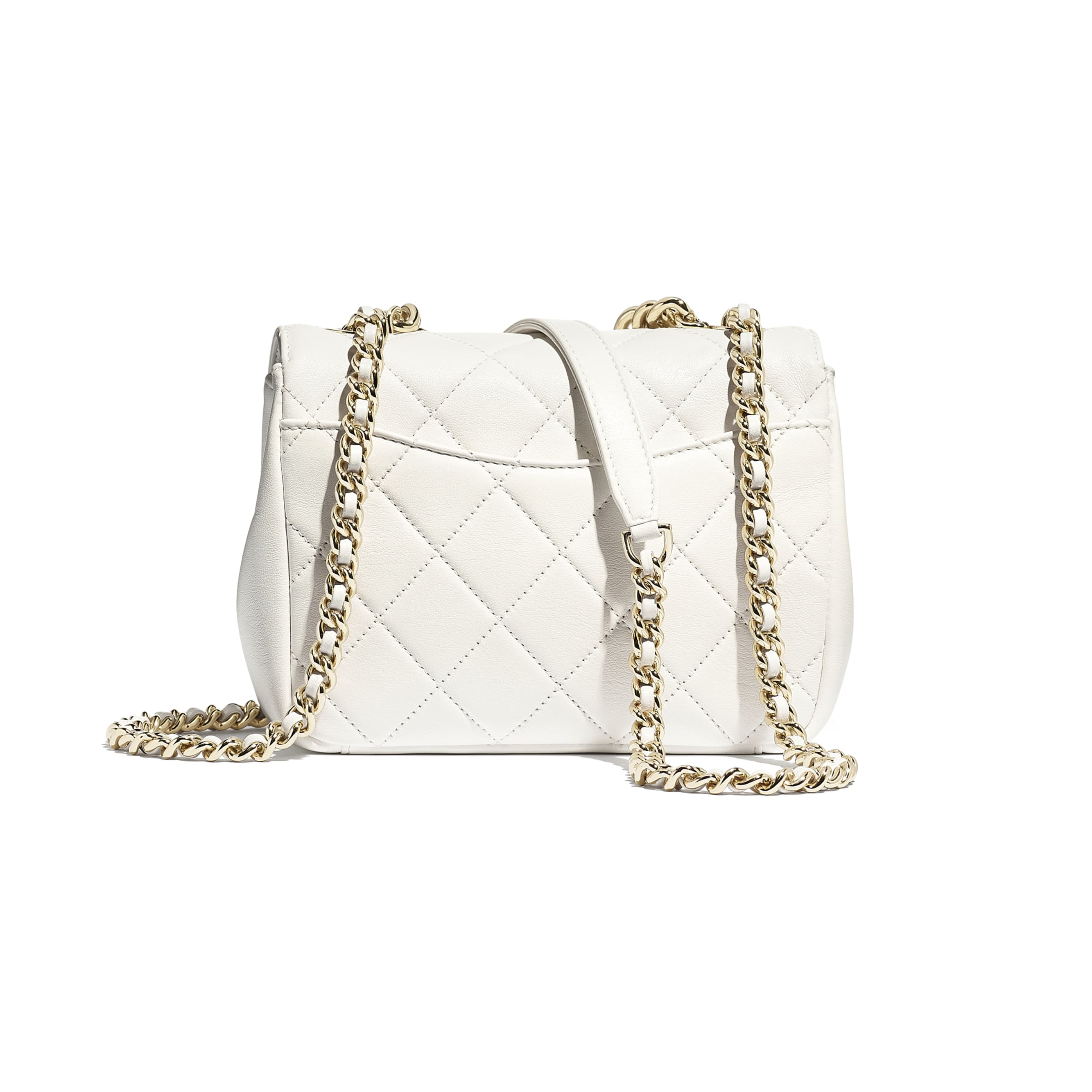 Flap Bag - White - Lambskin, Studs & Gold-Tone Metal - CHANEL - Alternative view - see standard sized version