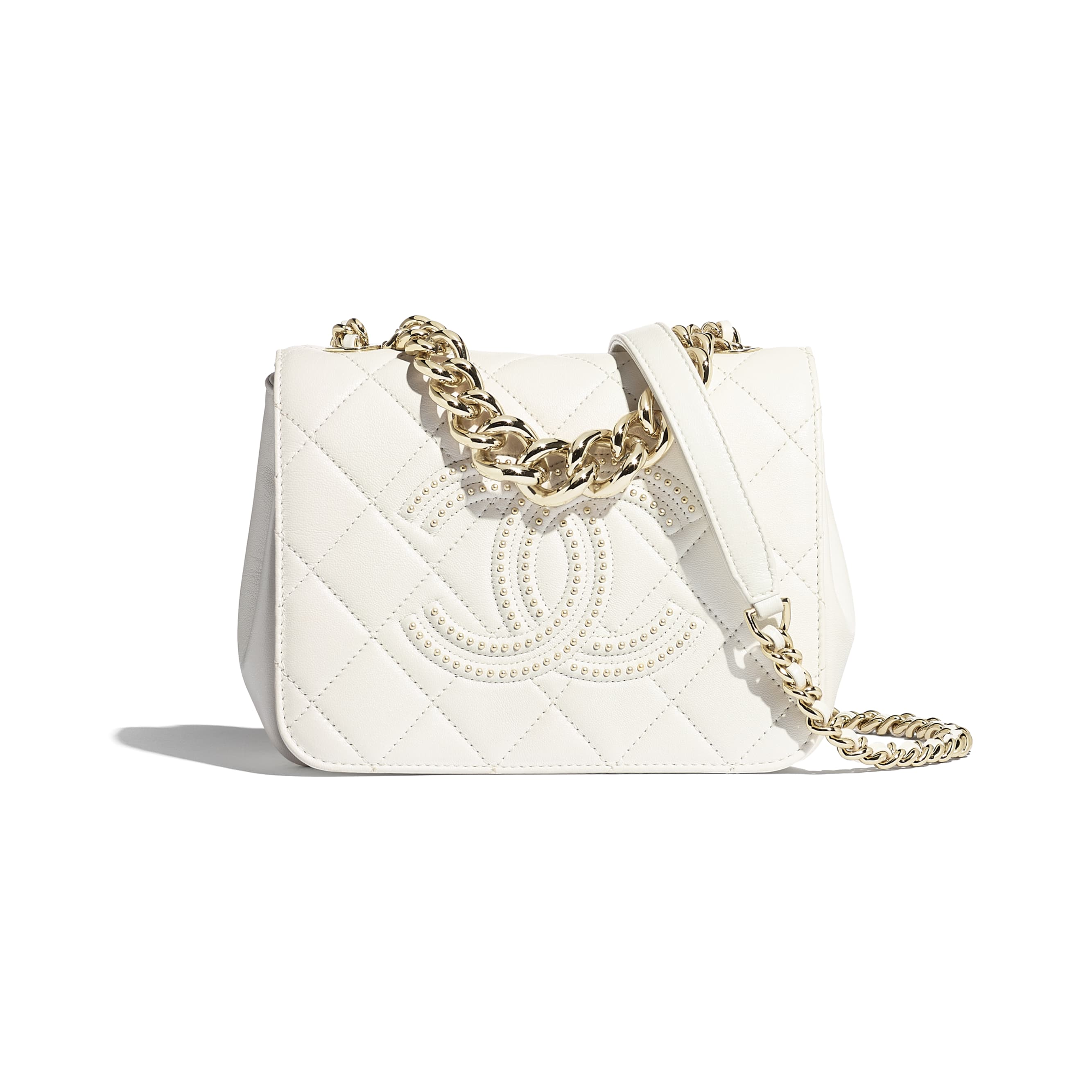 Flap Bag - White - Lambskin, Studs & Gold-Tone Metal - CHANEL - Default view - see standard sized version
