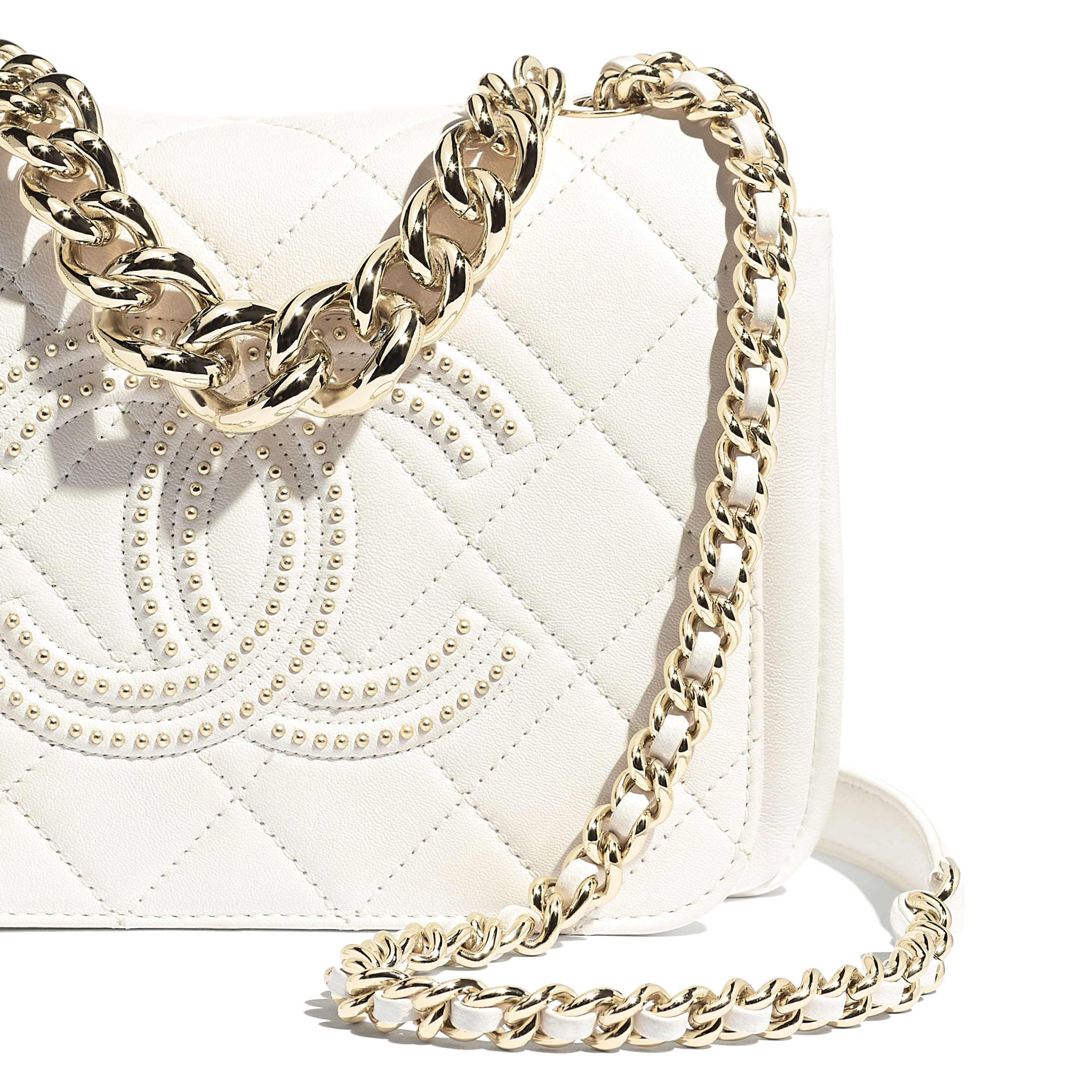 Flap Bag - White - Lambskin, Studs & Gold-Tone Metal - CHANEL - Extra view - see standard sized version