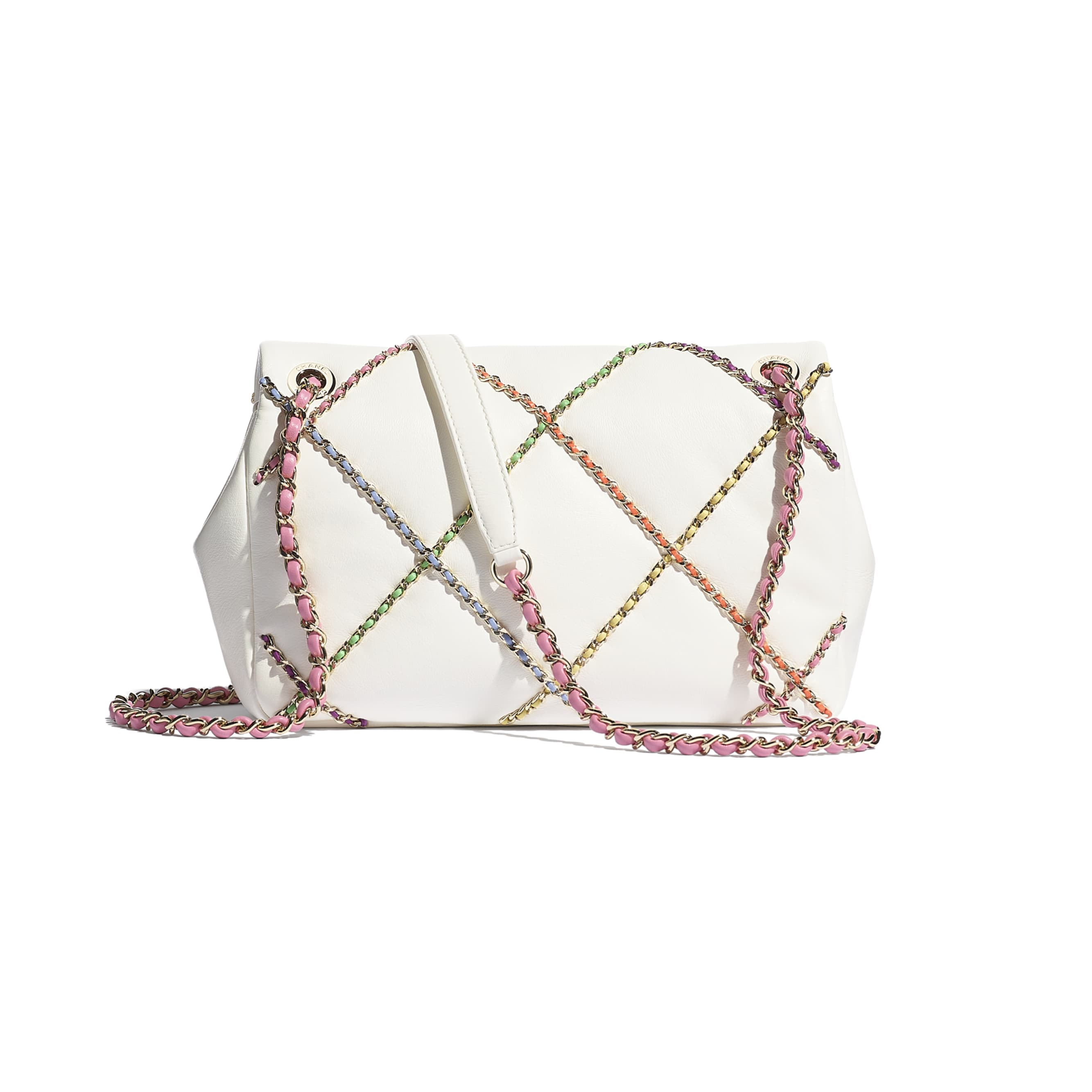 Flap Bag - White & Multicolour - Lambskin & Gold Metal  - CHANEL - Alternative view - see standard sized version