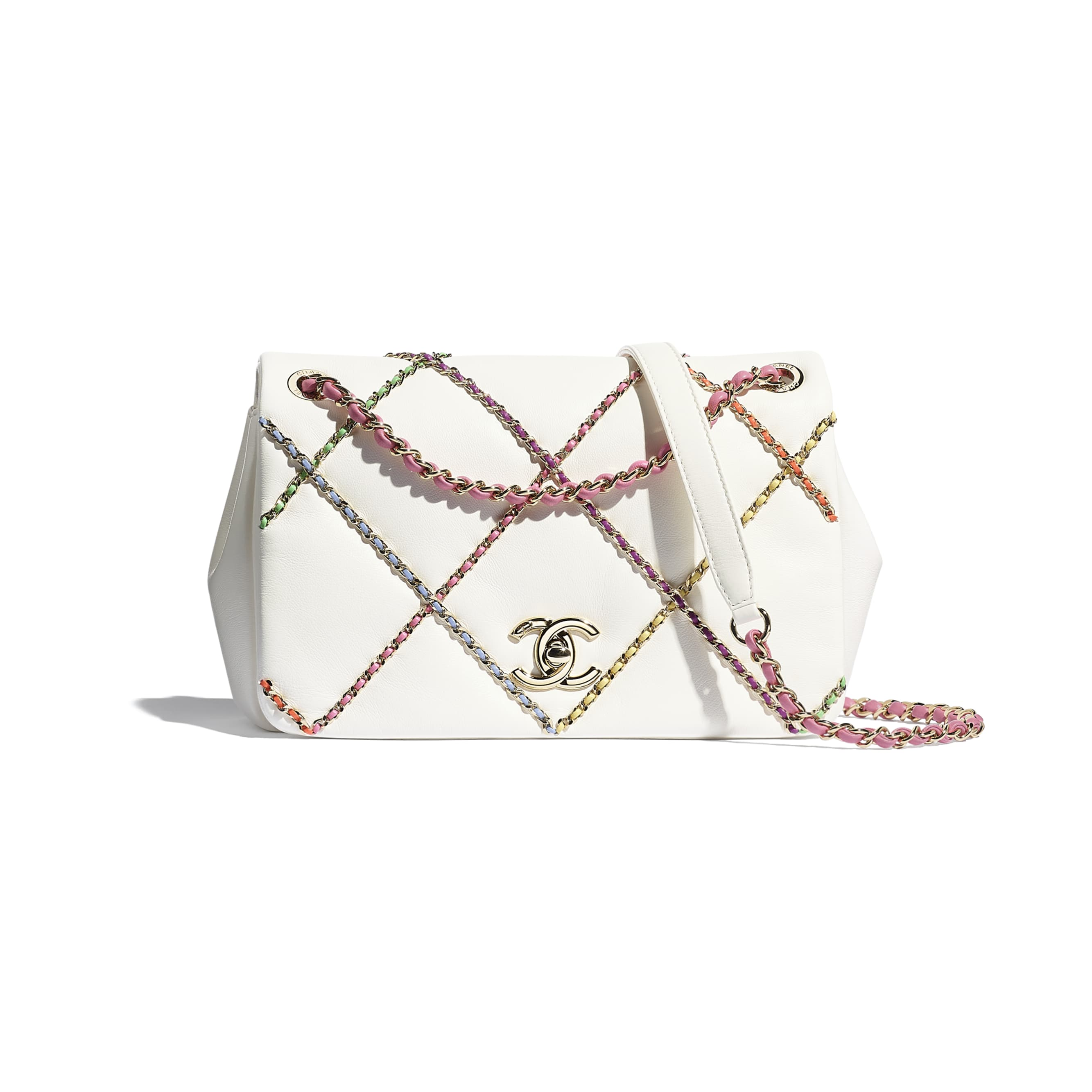 Flap Bag - White & Multicolour - Lambskin & Gold Metal  - CHANEL - Default view - see standard sized version