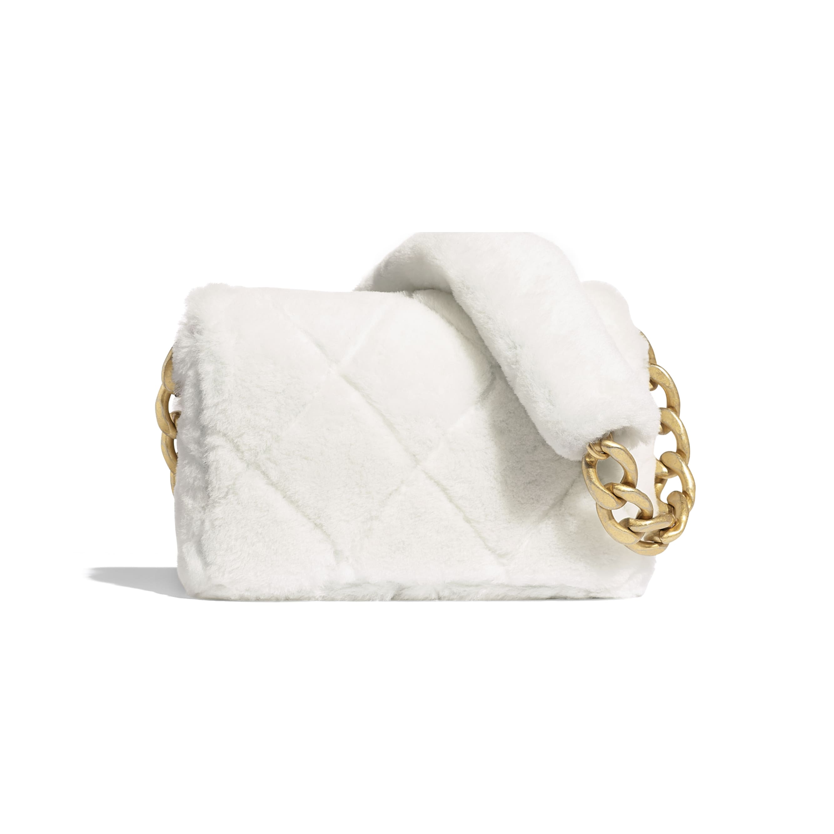 Flap Bag - White - Shearling Lambskin & Gold-Tone Metal - CHANEL - Alternative view - see standard sized version