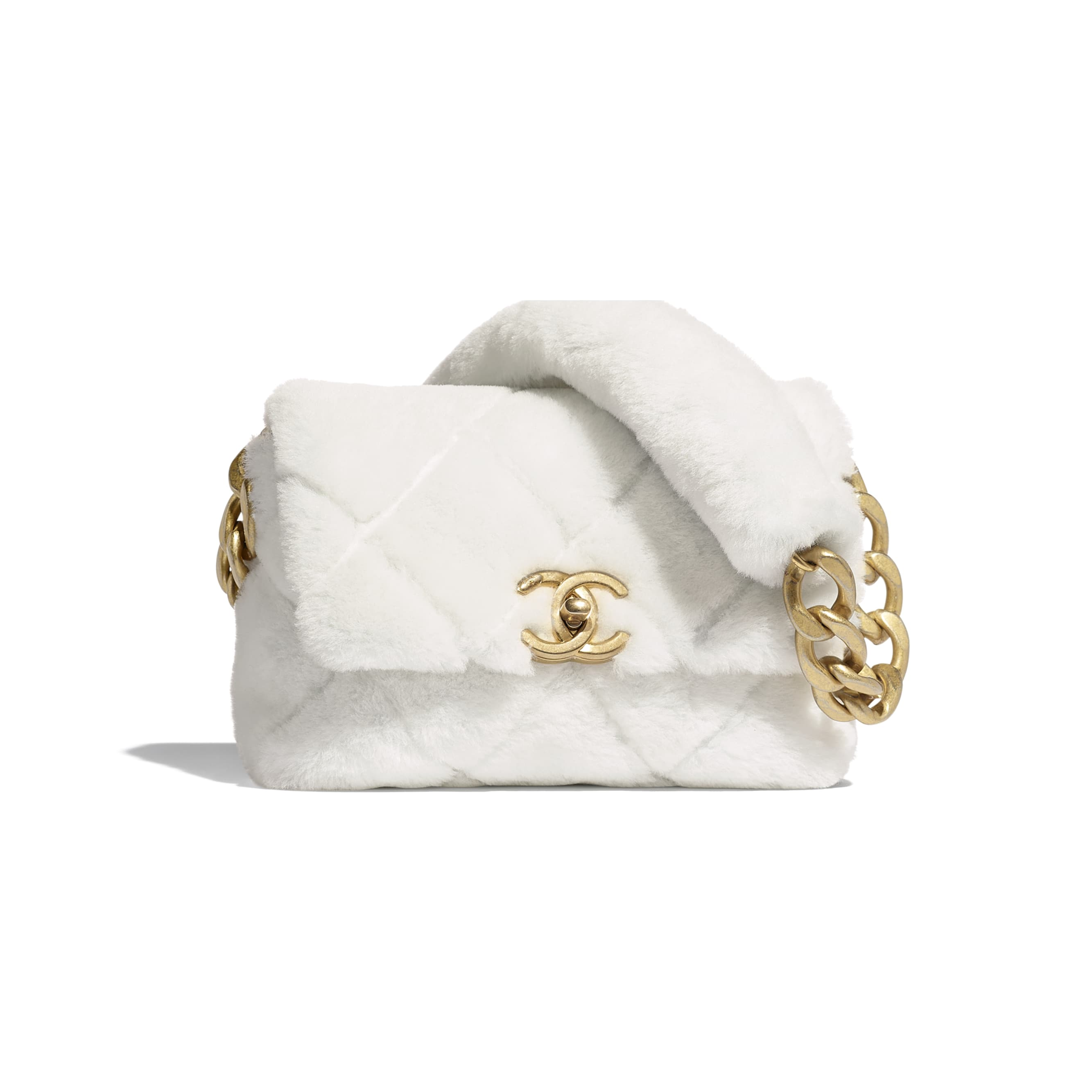 Flap Bag - White - Shearling Lambskin & Gold-Tone Metal - CHANEL - Default view - see standard sized version