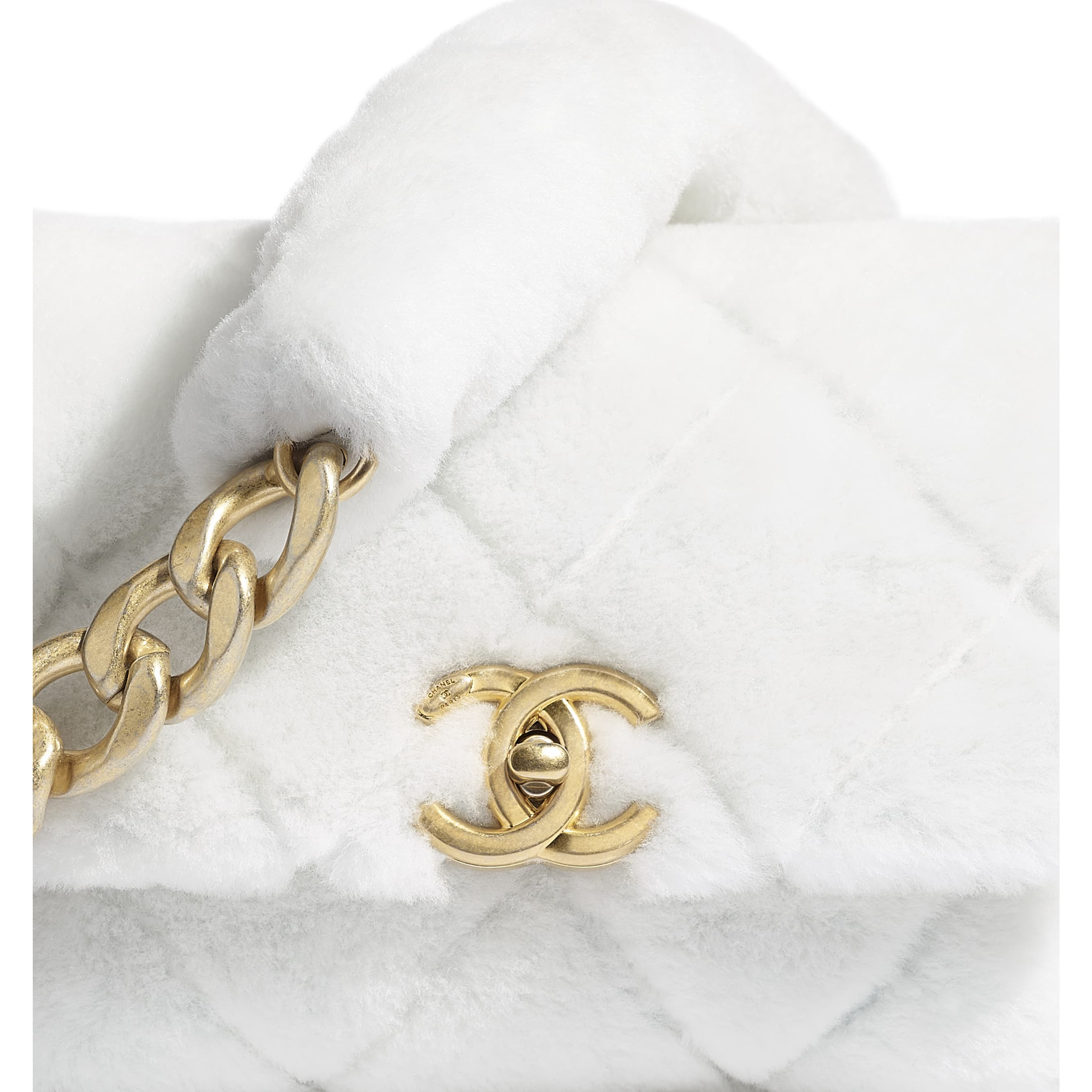 Flap Bag - White - Shearling Lambskin & Gold-Tone Metal - CHANEL - Extra view - see standard sized version