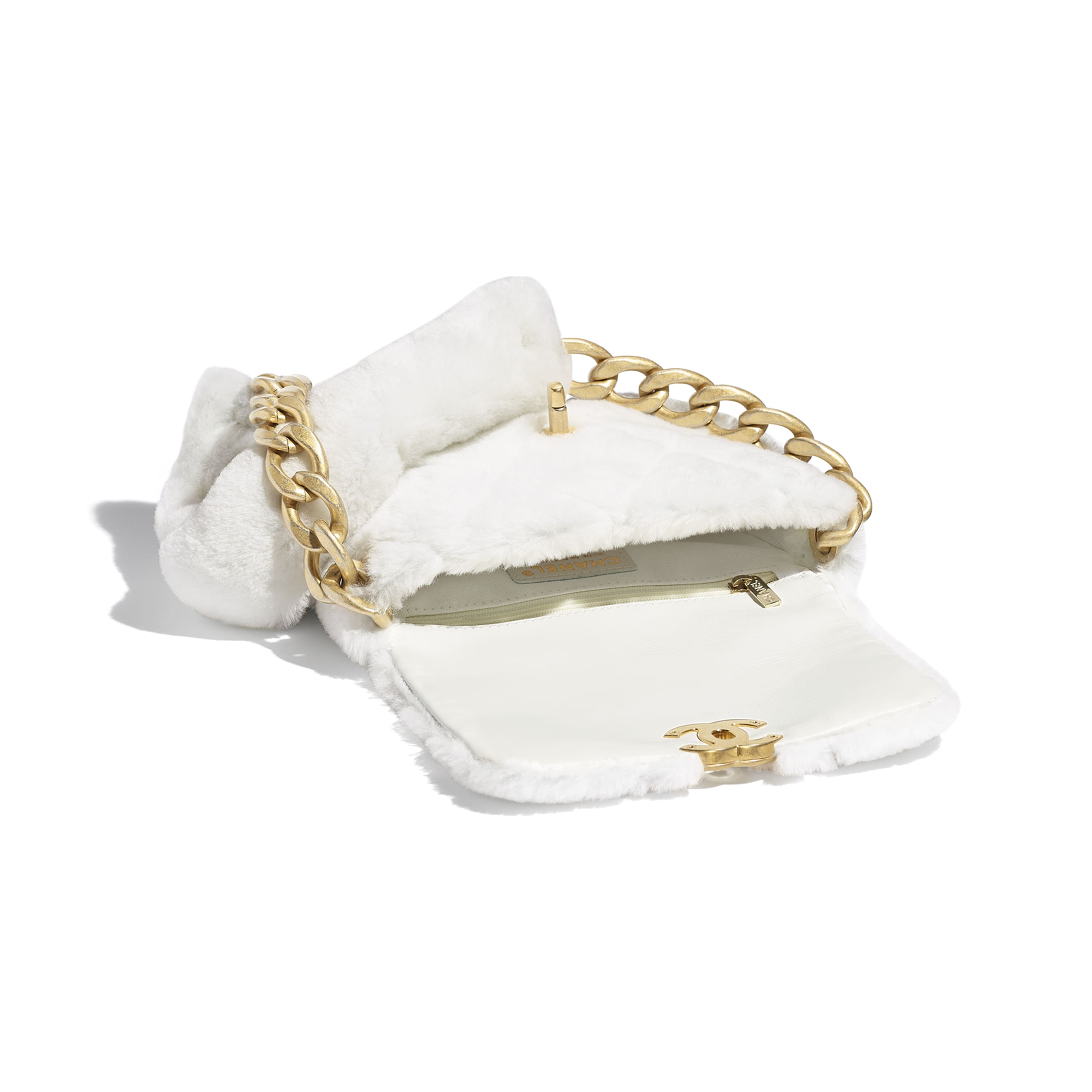 Flap Bag - White - Shearling Lambskin & Gold-Tone Metal - CHANEL - Other view - see standard sized version