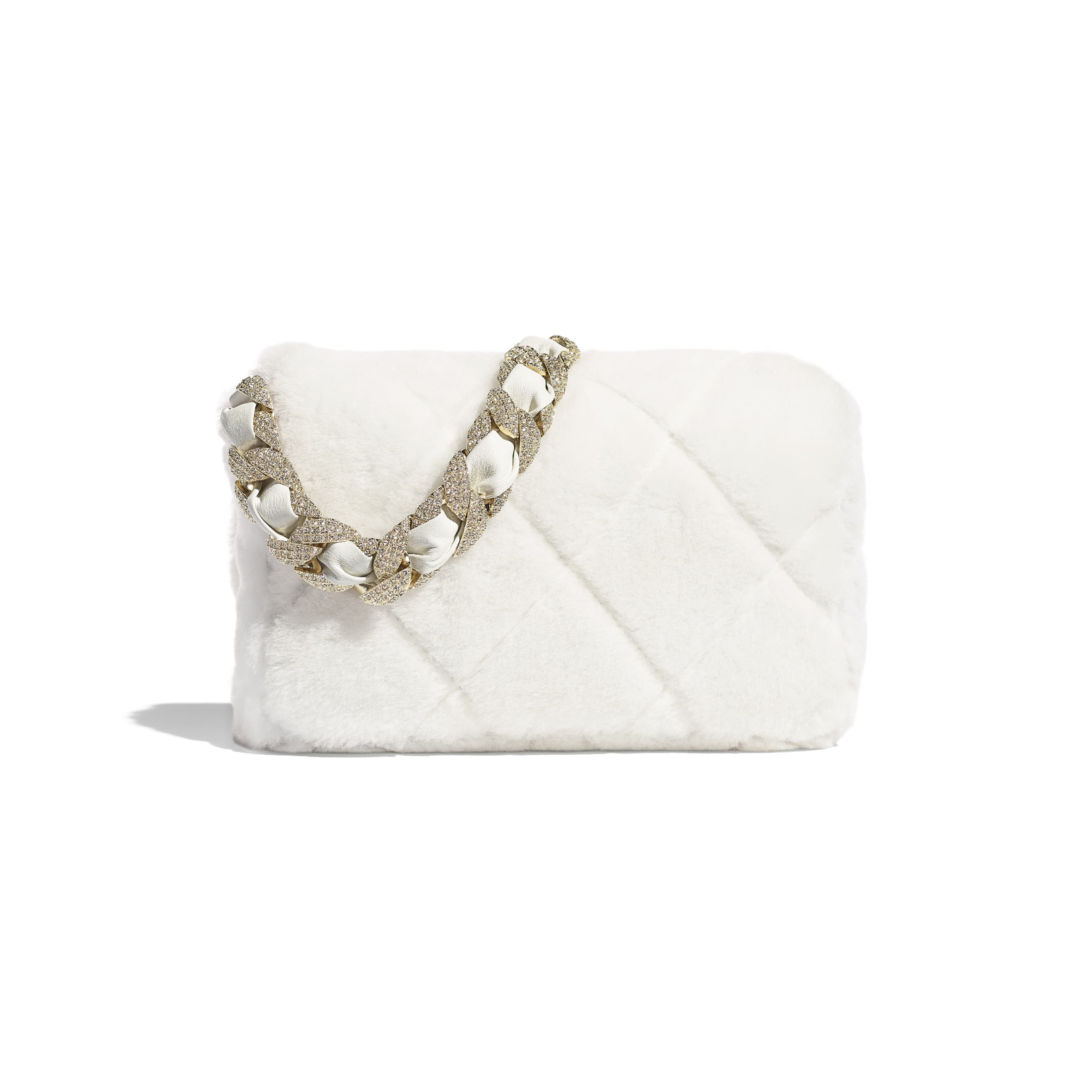 Flap Bag - White - Shearling Lambskin, Strass & Gold-Tone Metal - CHANEL - Alternative view - see standard sized version