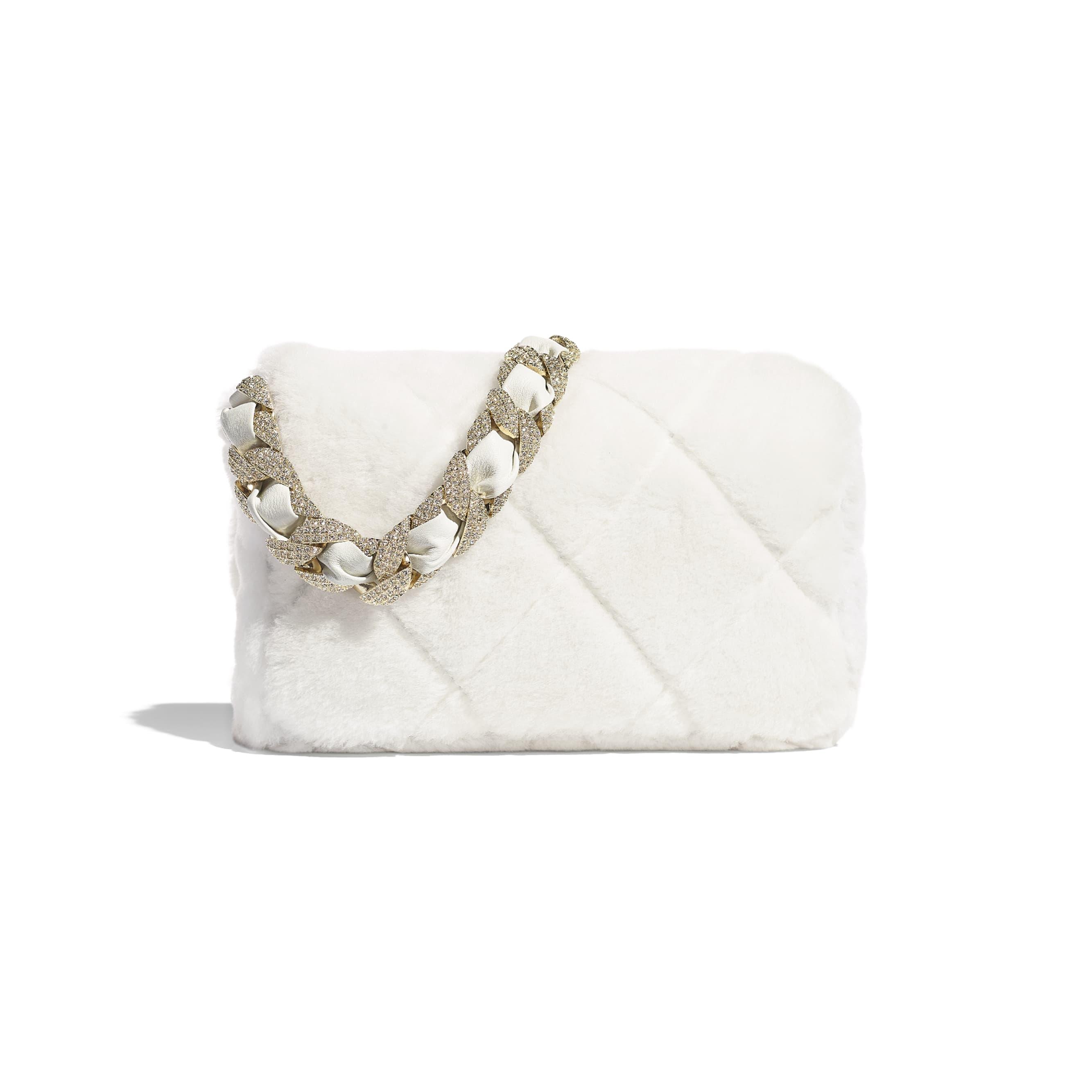 垂蓋手袋 - 白色 - 雙面剪羊毛、水晶及金色金屬 - CHANEL - 替代視圖 - 查看標準尺寸版本