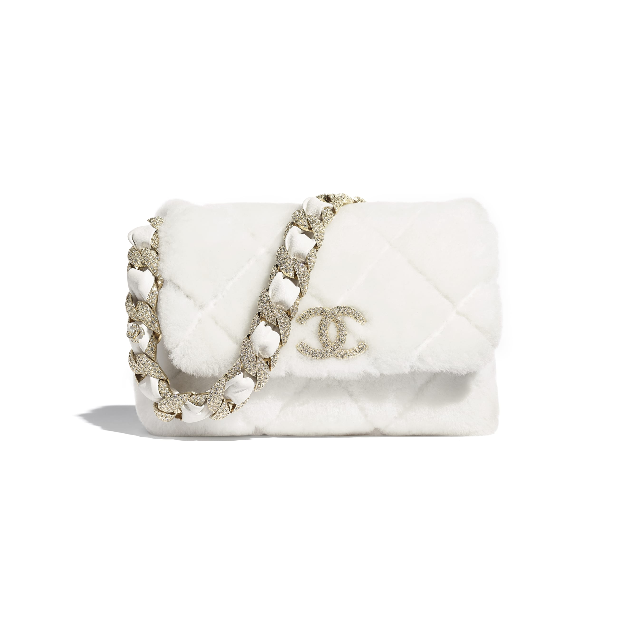 Flap Bag - White - Shearling Lambskin, Strass & Gold-Tone Metal - CHANEL - Default view - see standard sized version
