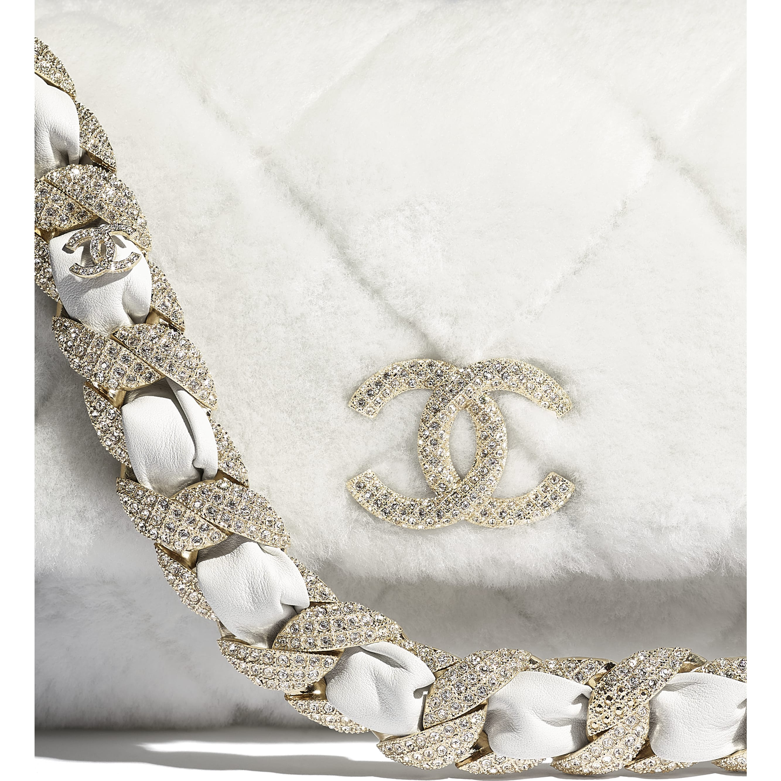 Flap Bag - White - Shearling Lambskin, Strass & Gold-Tone Metal - CHANEL - Extra view - see standard sized version