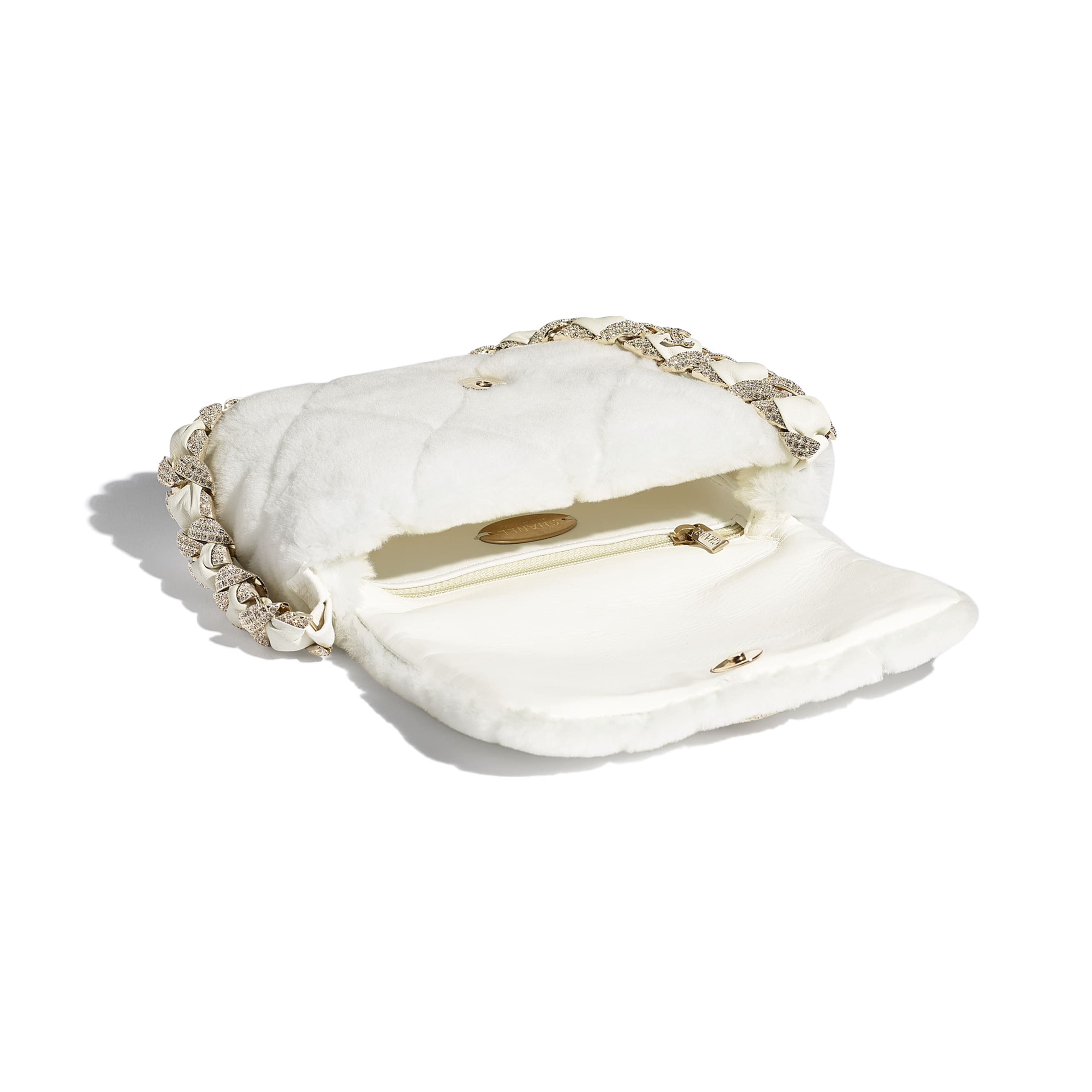 Flap Bag - White - Shearling Lambskin, Strass & Gold-Tone Metal - CHANEL - Other view - see standard sized version