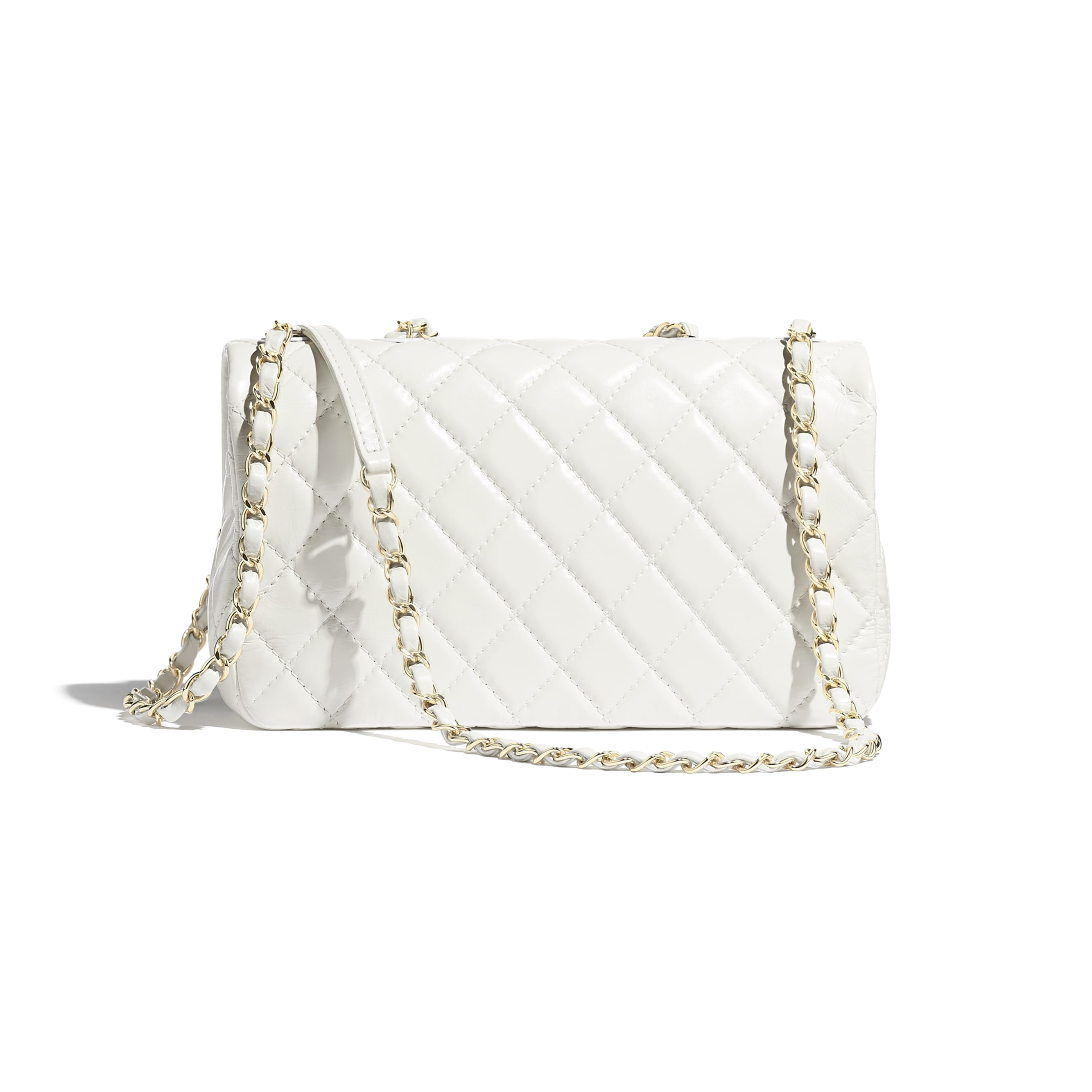 Flap Bag - White - Shiny Lambskin & Gold-Tone Metal - Alternative view - see standard sized version