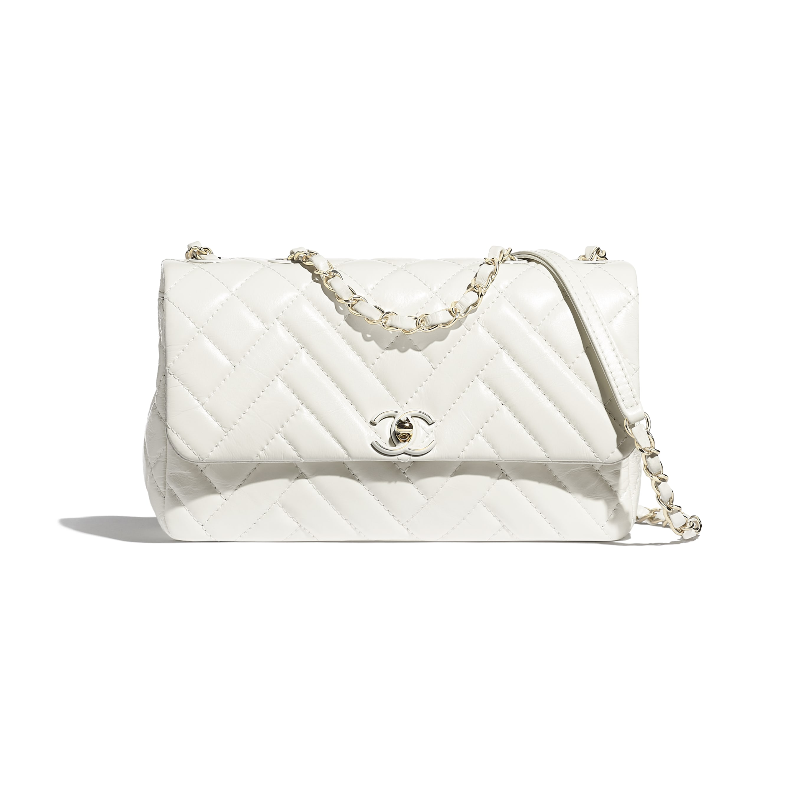 Flap Bag - White - Shiny Lambskin & Gold-Tone Metal - Default view - see standard sized version