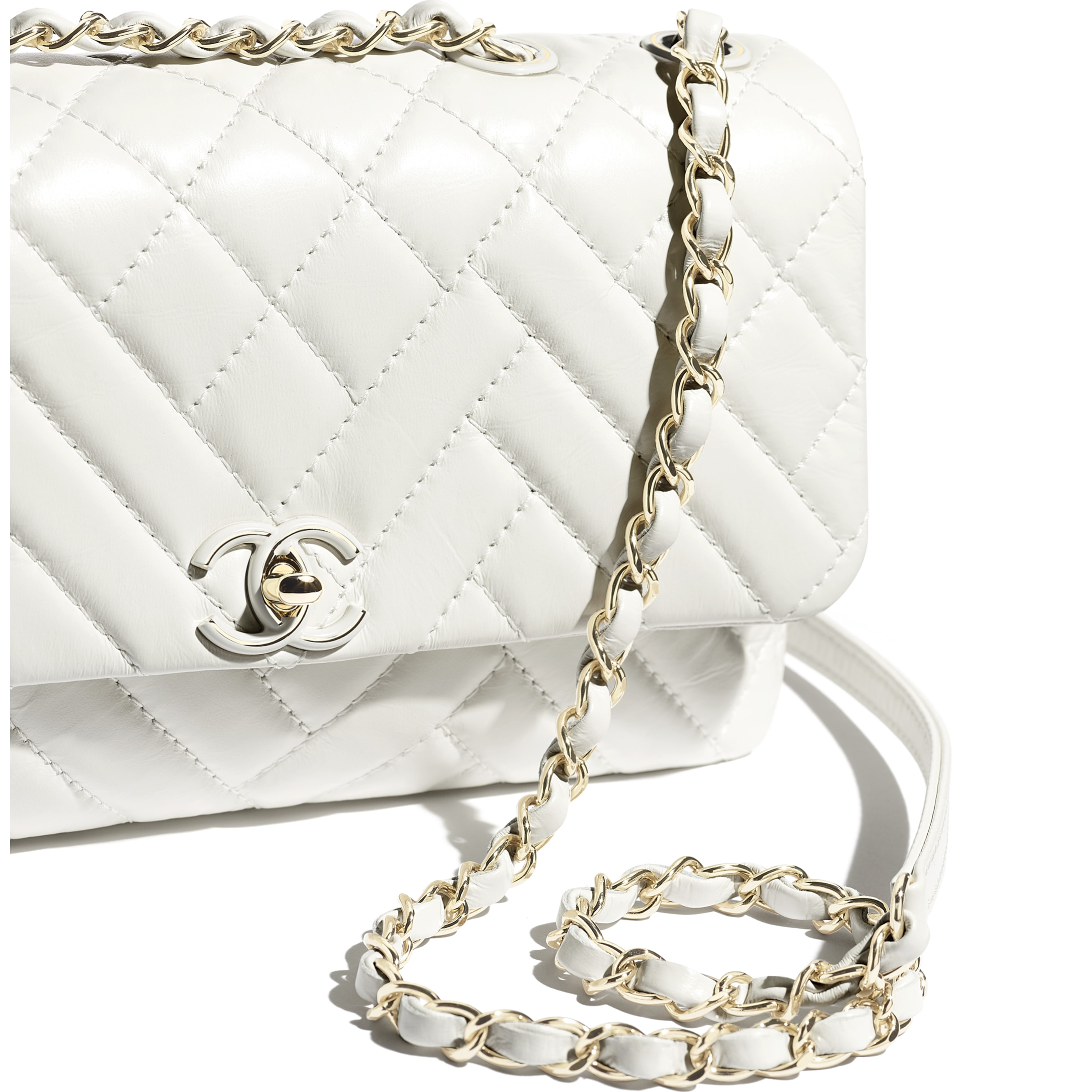 Flap Bag - White - Shiny Lambskin & Gold-Tone Metal - Extra view - see standard sized version