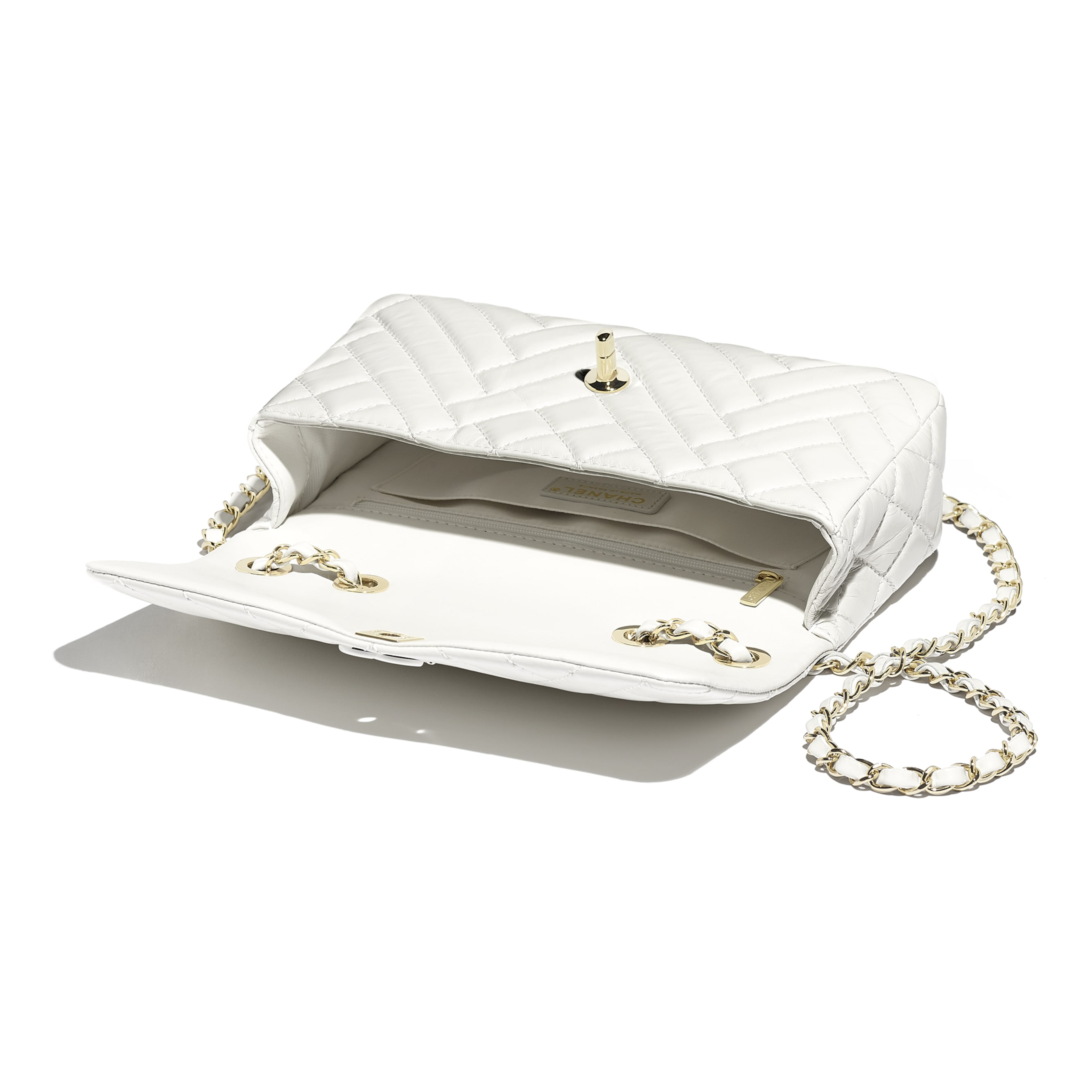 Flap Bag - White - Shiny Lambskin & Gold-Tone Metal - Other view - see standard sized version