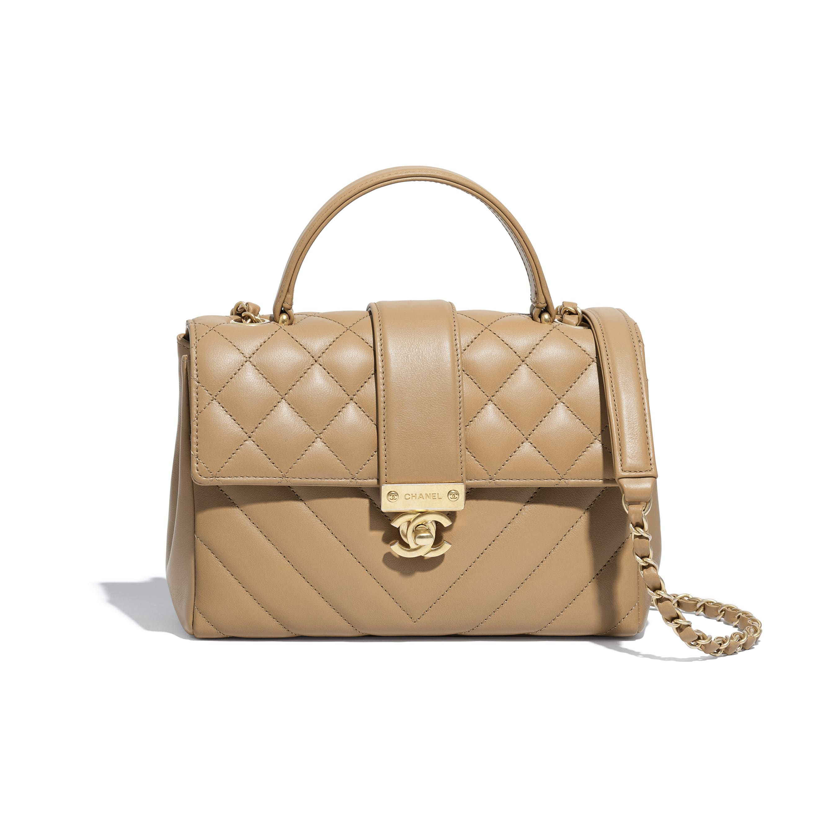 Flap Bag with Top Handle - Beige - Calfskin & Gold-Tone Metal - Default view - see standard sized version