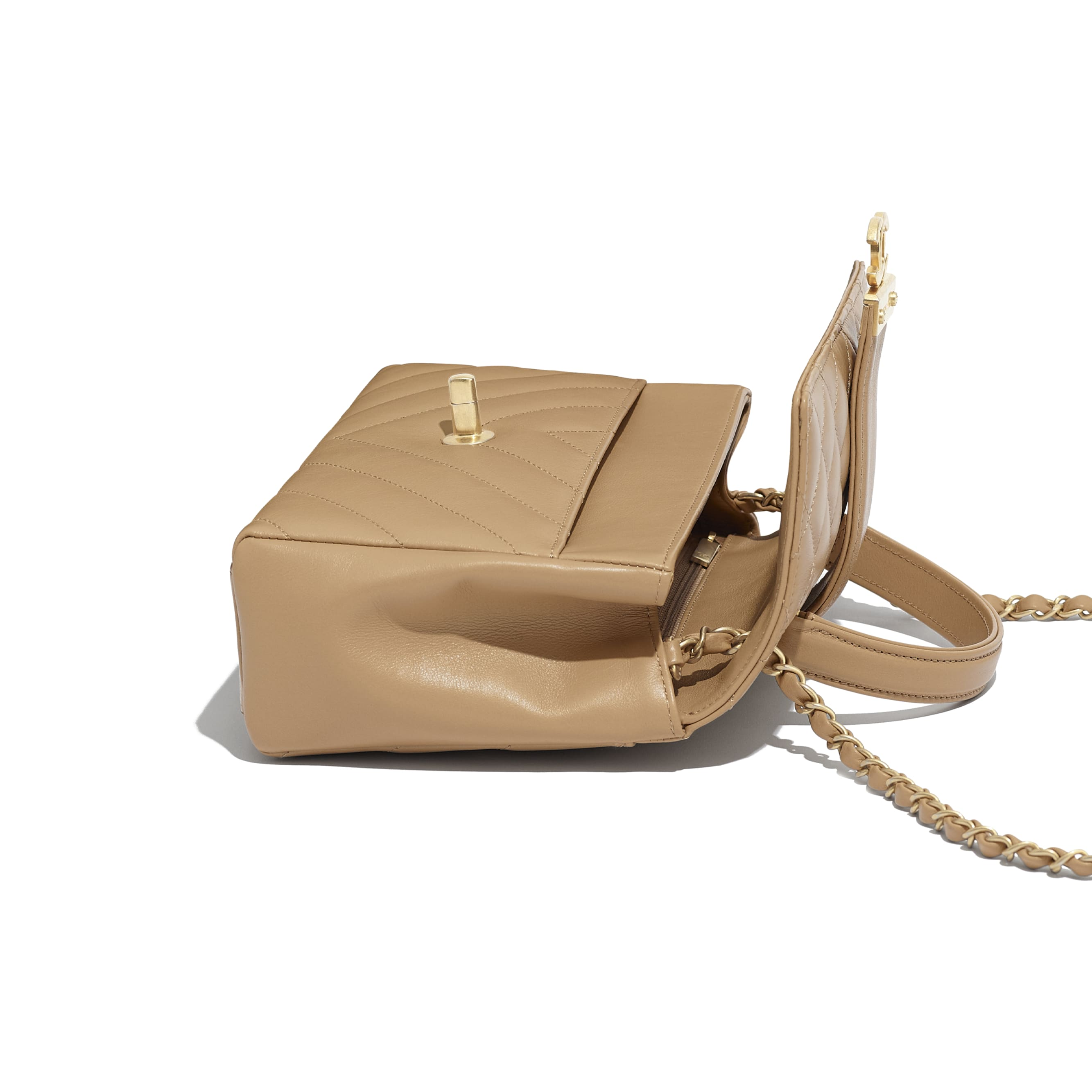 Flap Bag with Top Handle - Beige - Calfskin & Gold-Tone Metal - Other view - see standard sized version