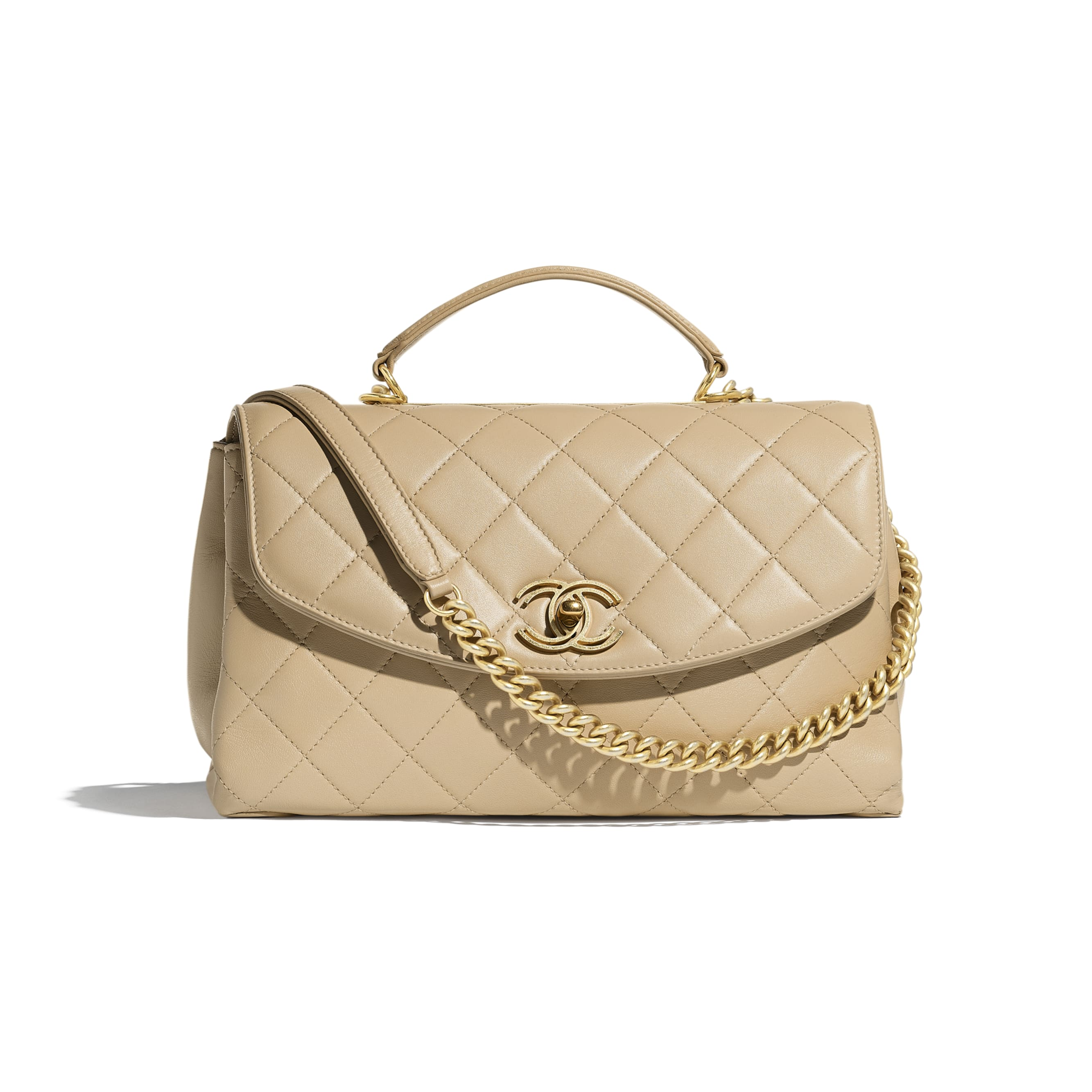 Flap Bag With Top Handle - Beige - Lambskin - Default view - see standard sized version