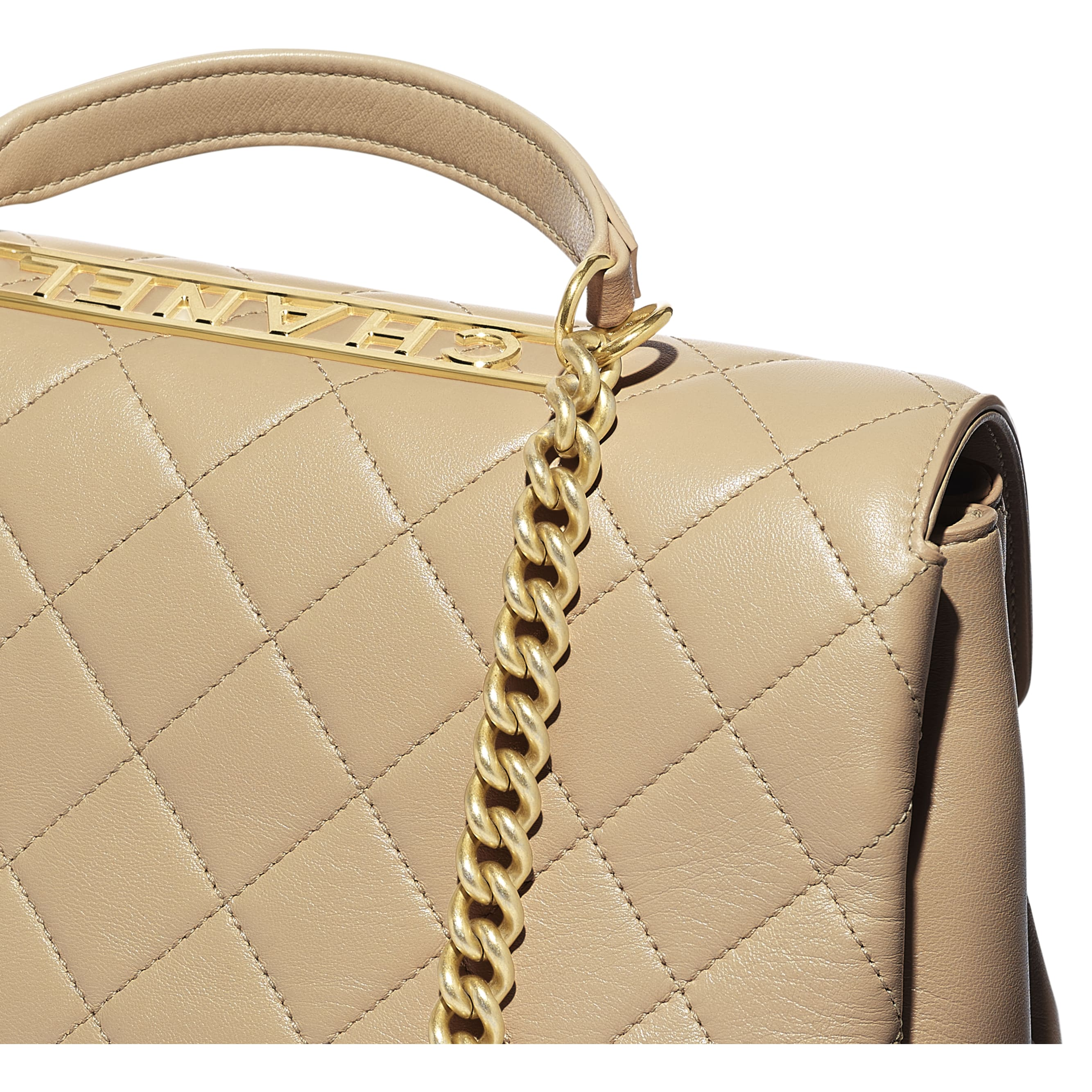Flap Bag With Top Handle - Beige - Lambskin - Extra view - see standard sized version