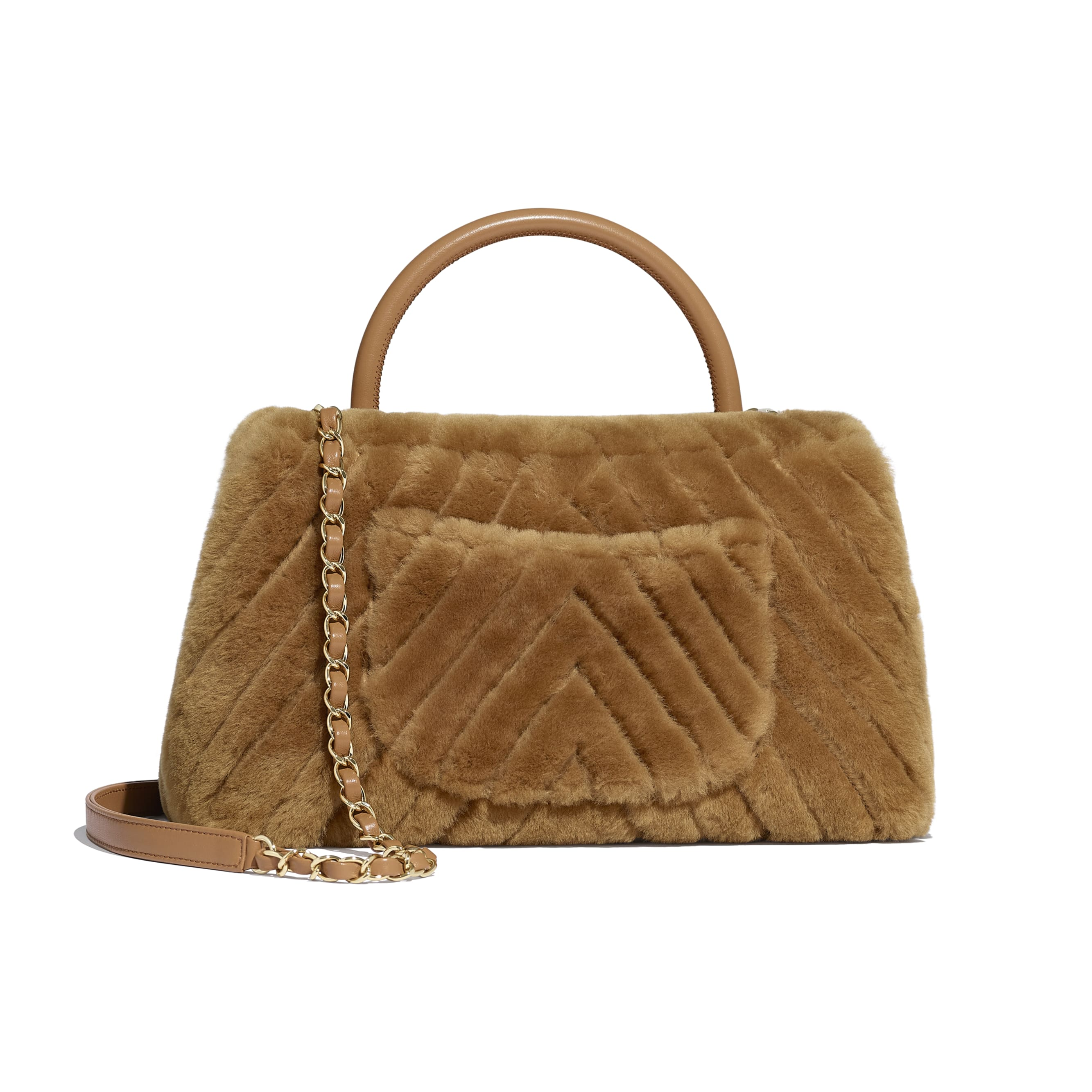 Flap Bag With Top Handle - Beige - Shearling Lambskin, Lambskin &Gold-Tone Metal - Alternative view - see standard sized version