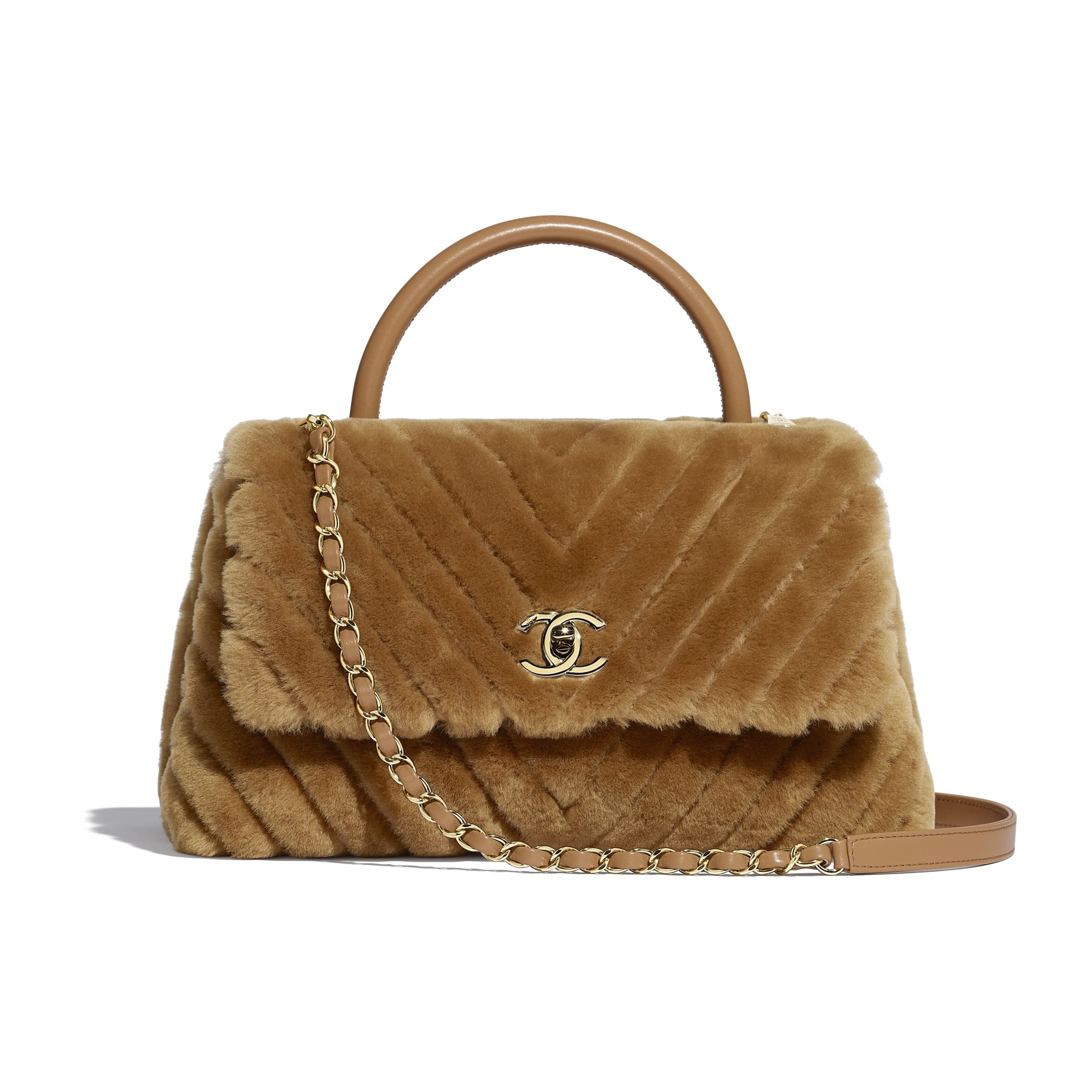 Flap Bag With Top Handle - Beige - Shearling Lambskin, Lambskin &Gold-Tone Metal - Default view - see standard sized version