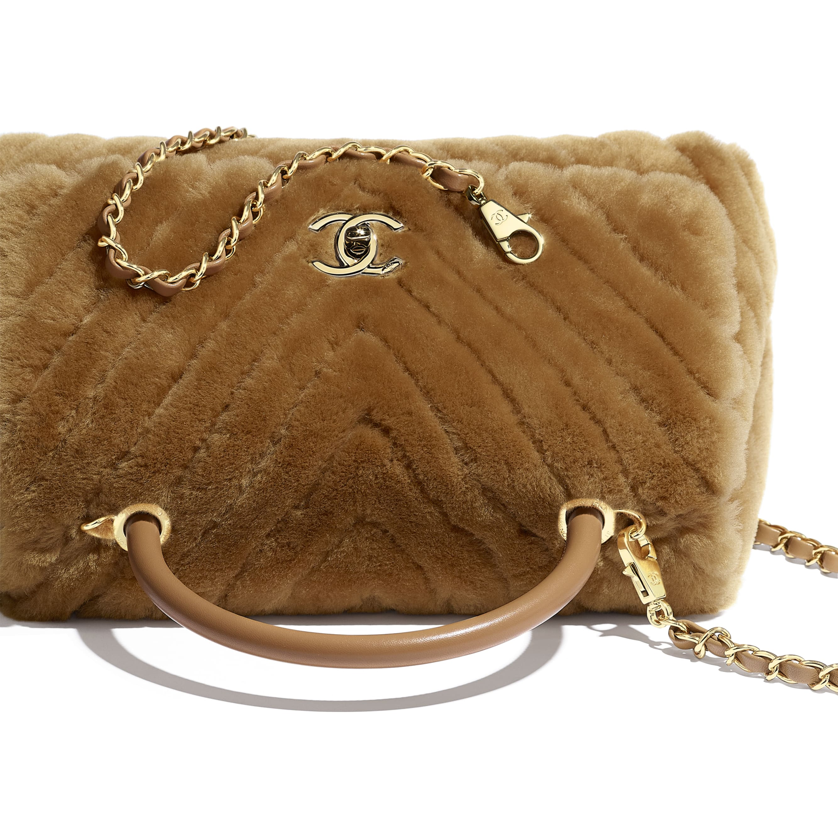 Flap Bag With Top Handle - Beige - Shearling Lambskin, Lambskin &Gold-Tone Metal - Extra view - see standard sized version