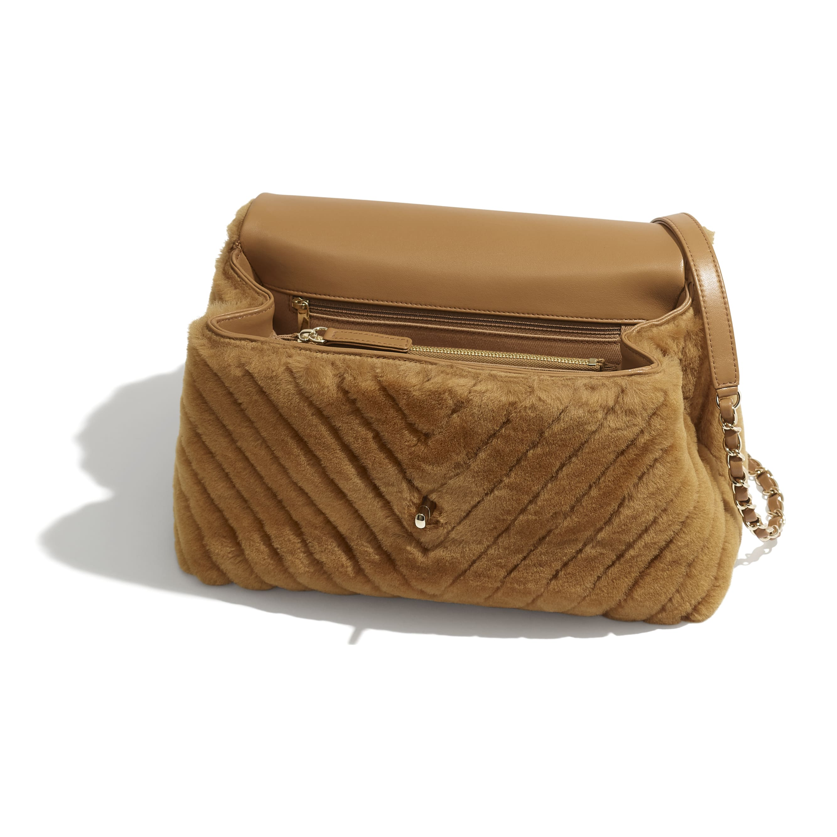 Flap Bag With Top Handle - Beige - Shearling Lambskin, Lambskin &Gold-Tone Metal - Other view - see standard sized version