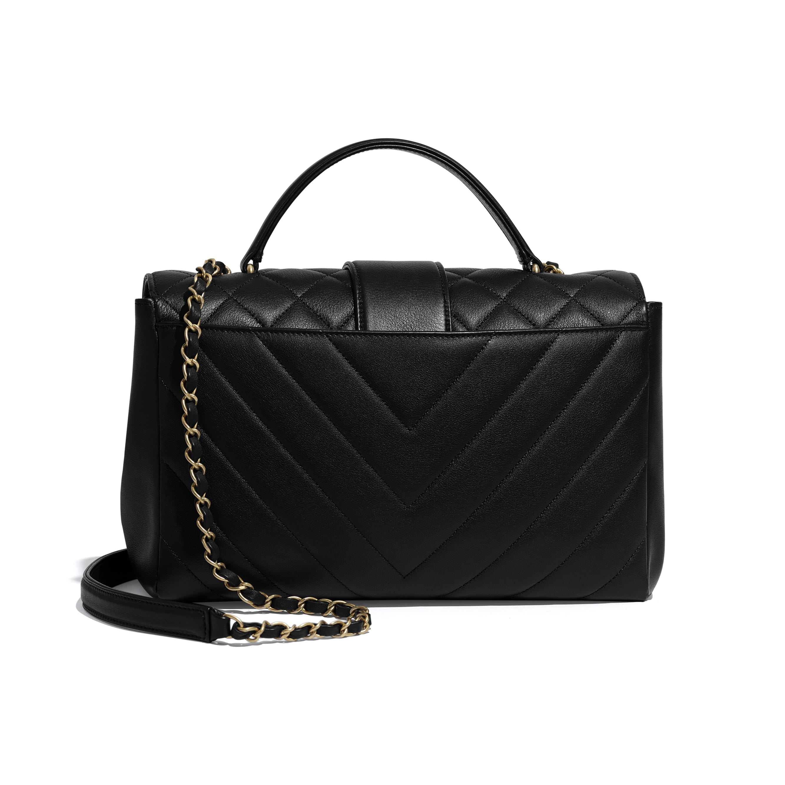 Flap Bag with Top Handle - Black - Calfskin & Gold-Tone Metal - Alternative view - see standard sized version