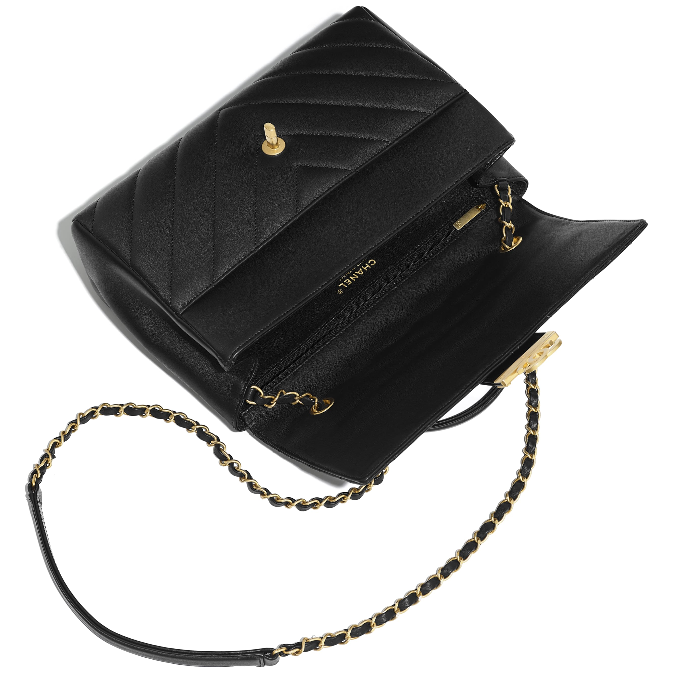 Flap Bag with Top Handle - Black - Calfskin & Gold-Tone Metal - Other view - see standard sized version