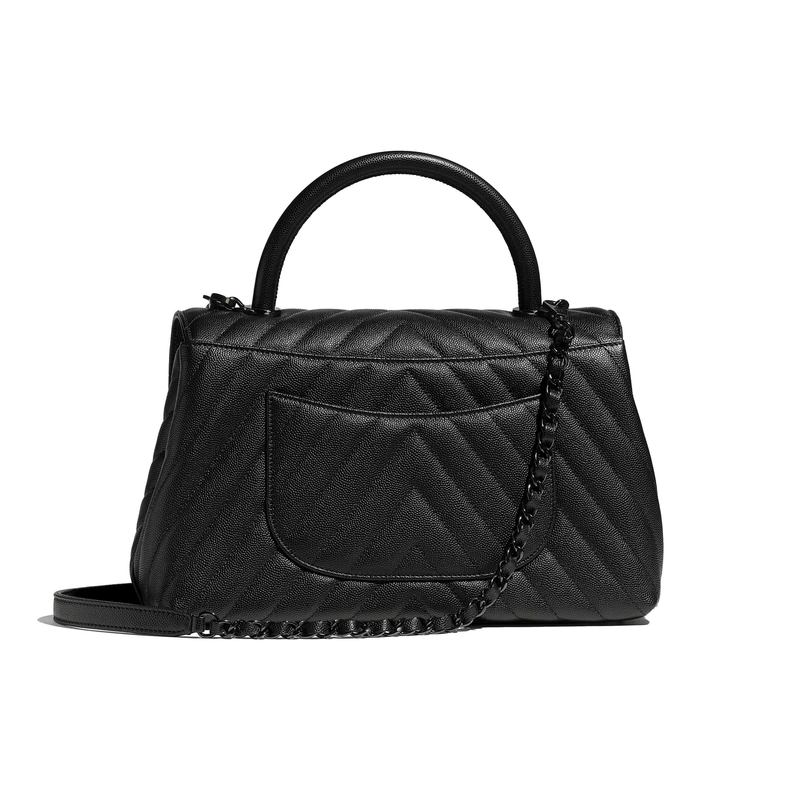 Flap Bag With Top Handle - Black - Grained Calfskin & Black Metal - Alternative view - see standard sized version
