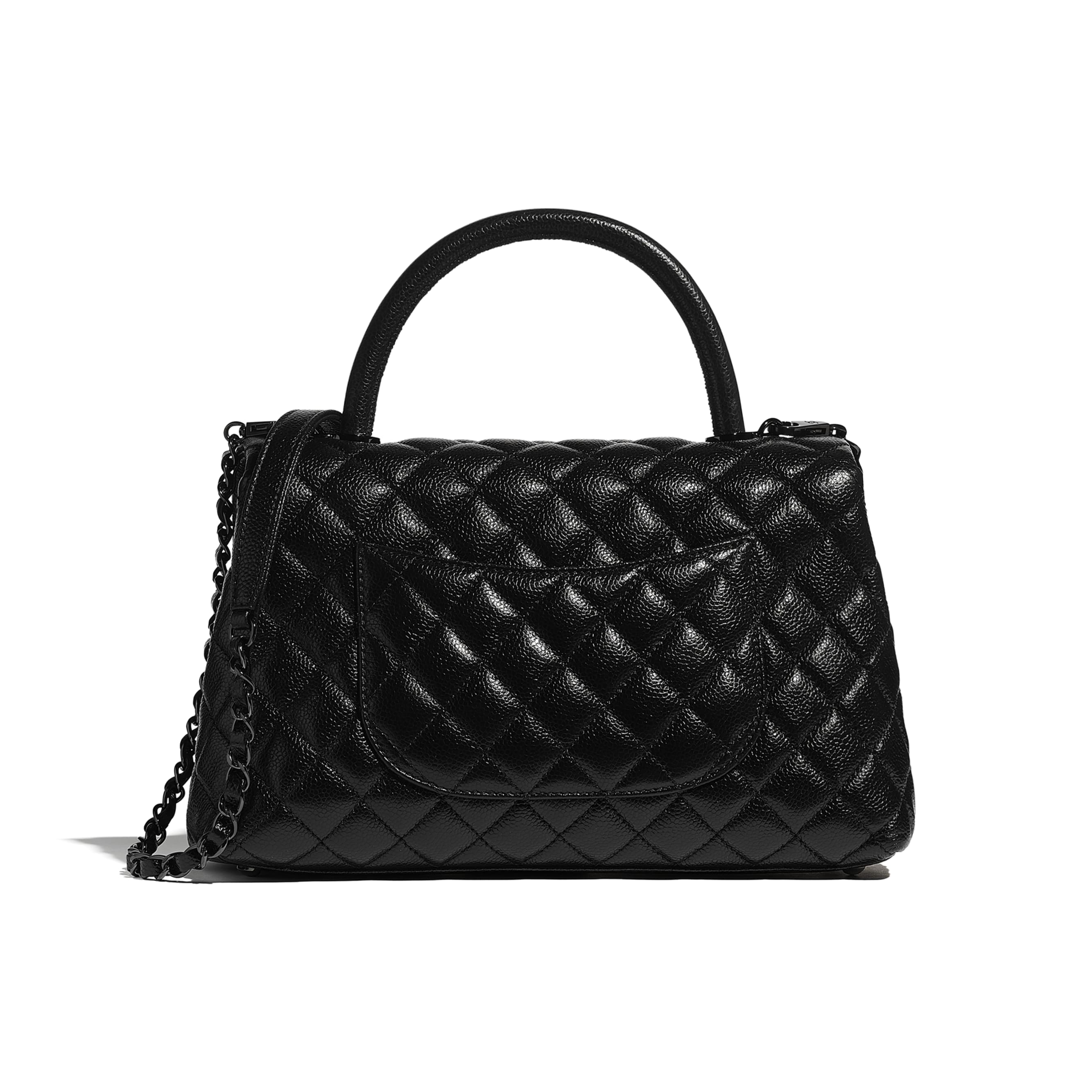 Flap Bag With Top Handle - Black - Grained Calfskin & Black Metal - CHANEL - Alternative view - see standard sized version